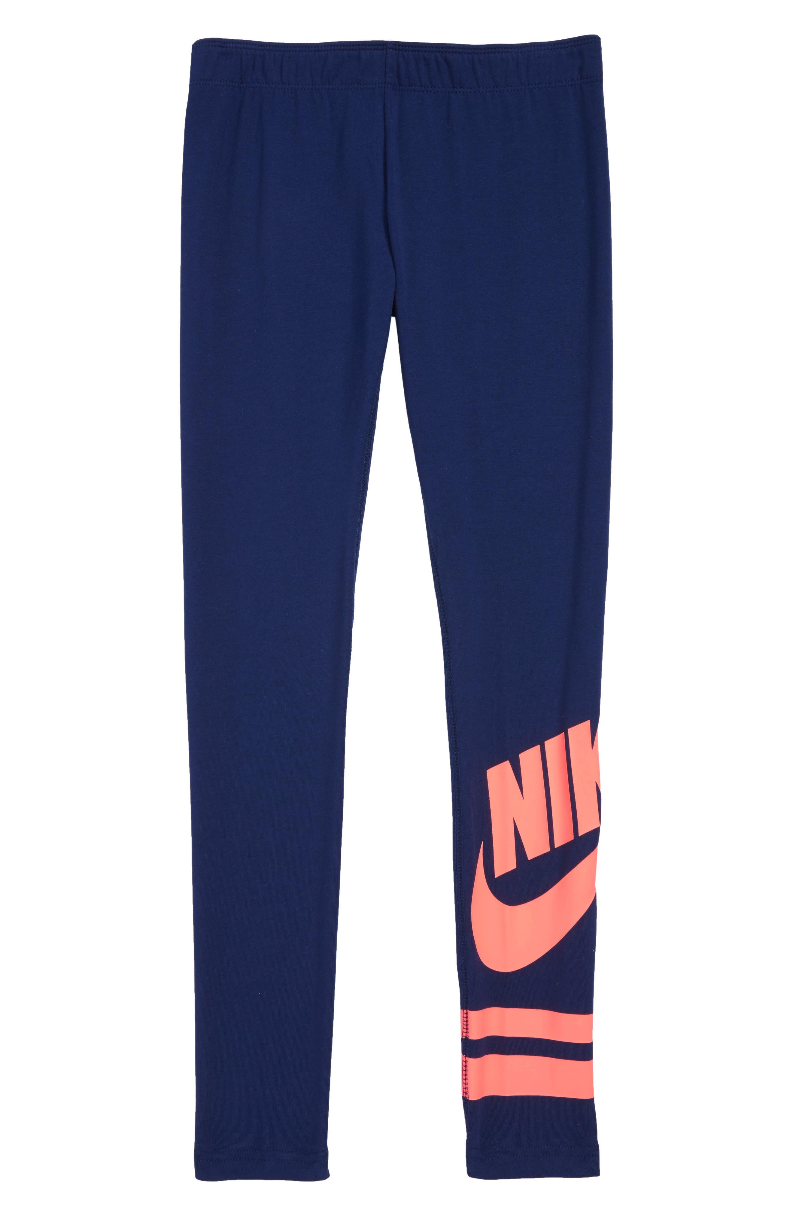 Sportswear Leggings, Main, color, BLUE VOID/ LAVA GLOW