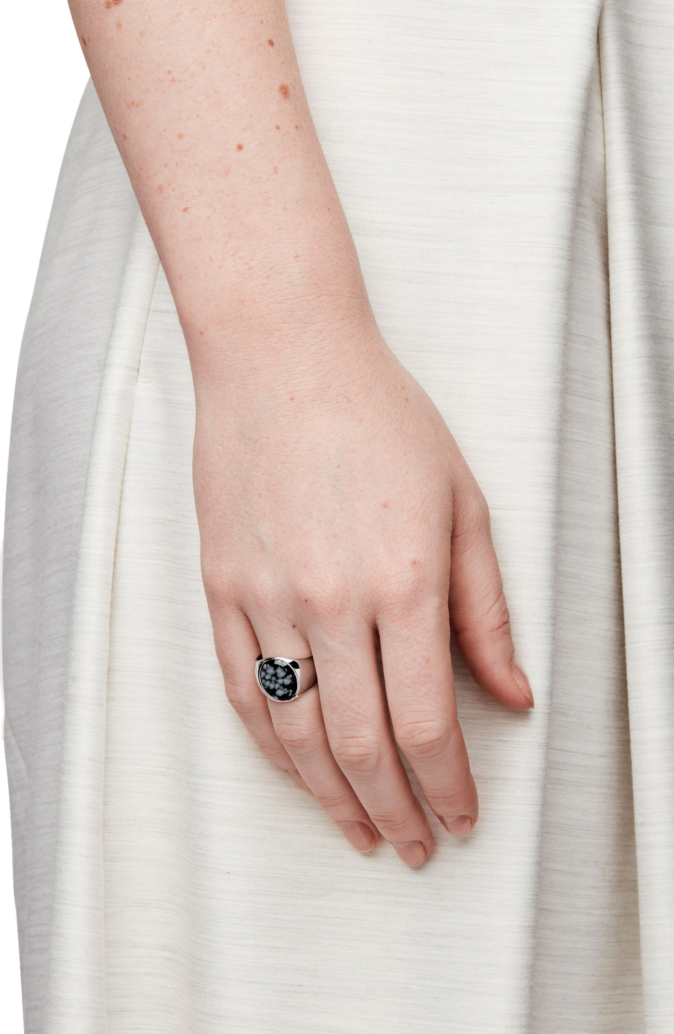 Snowflake Obsidian Oval Signet Ring,                             Alternate thumbnail 3, color,