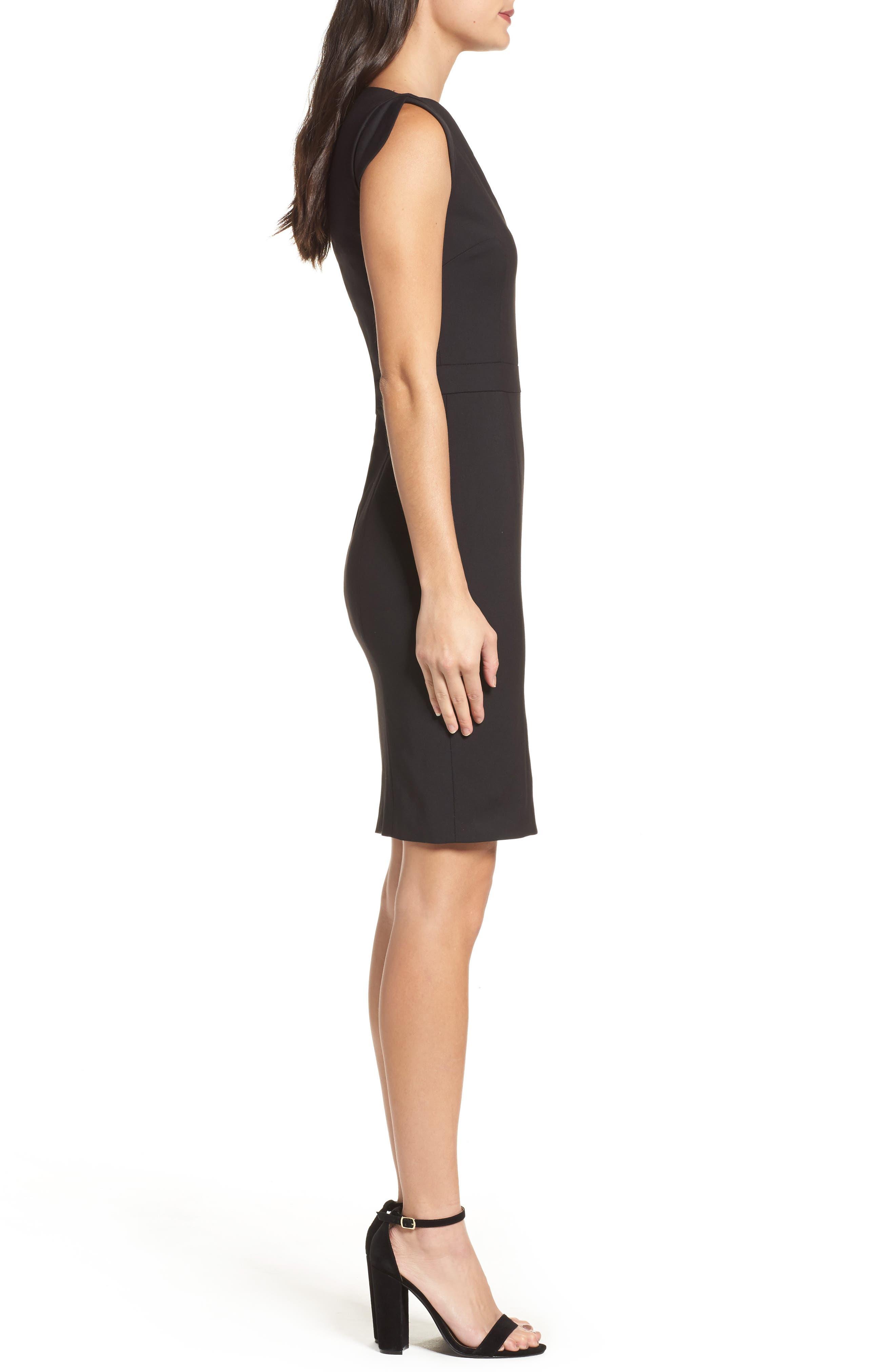 'Lolo' Stretch Sheath Dress,                             Alternate thumbnail 3, color,                             BLACK