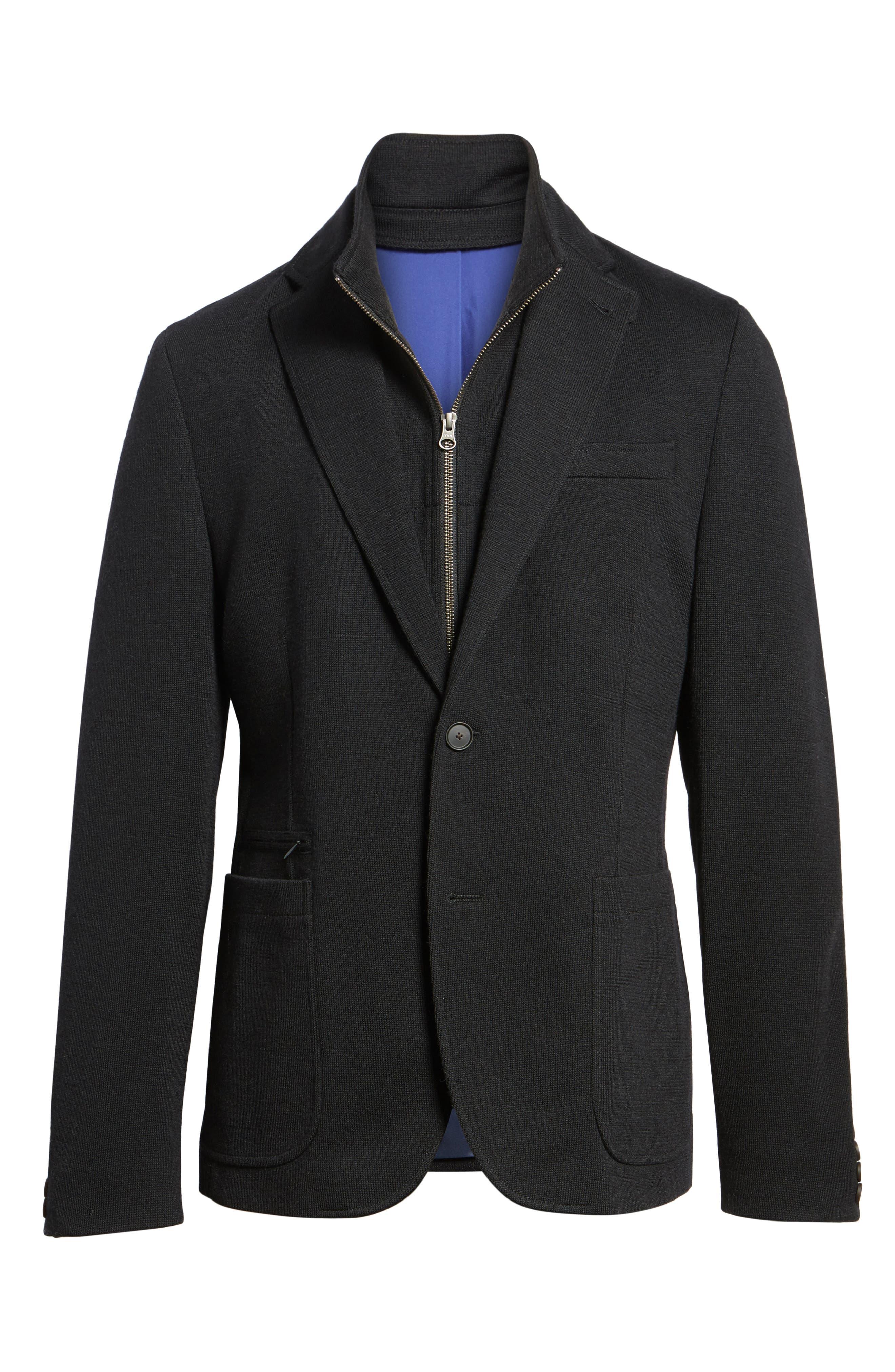 Jones Aim Hybrid Classic Fit Knit Wool Blend Blazer,                             Alternate thumbnail 5, color,                             001