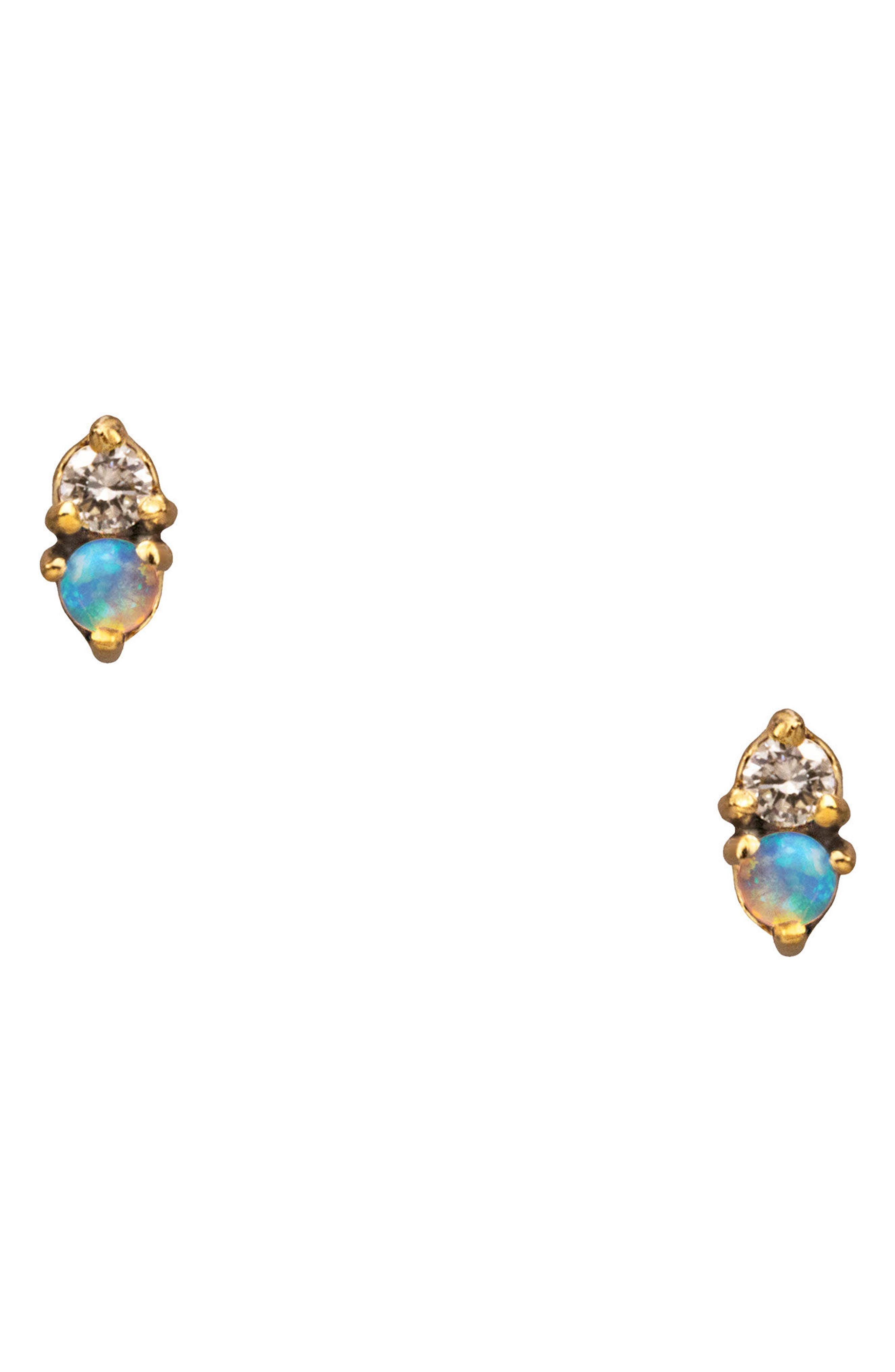 Counting Collection Two-Step Opal & Diamond Stud Earrings,                             Main thumbnail 1, color,                             YELLOW GOLD