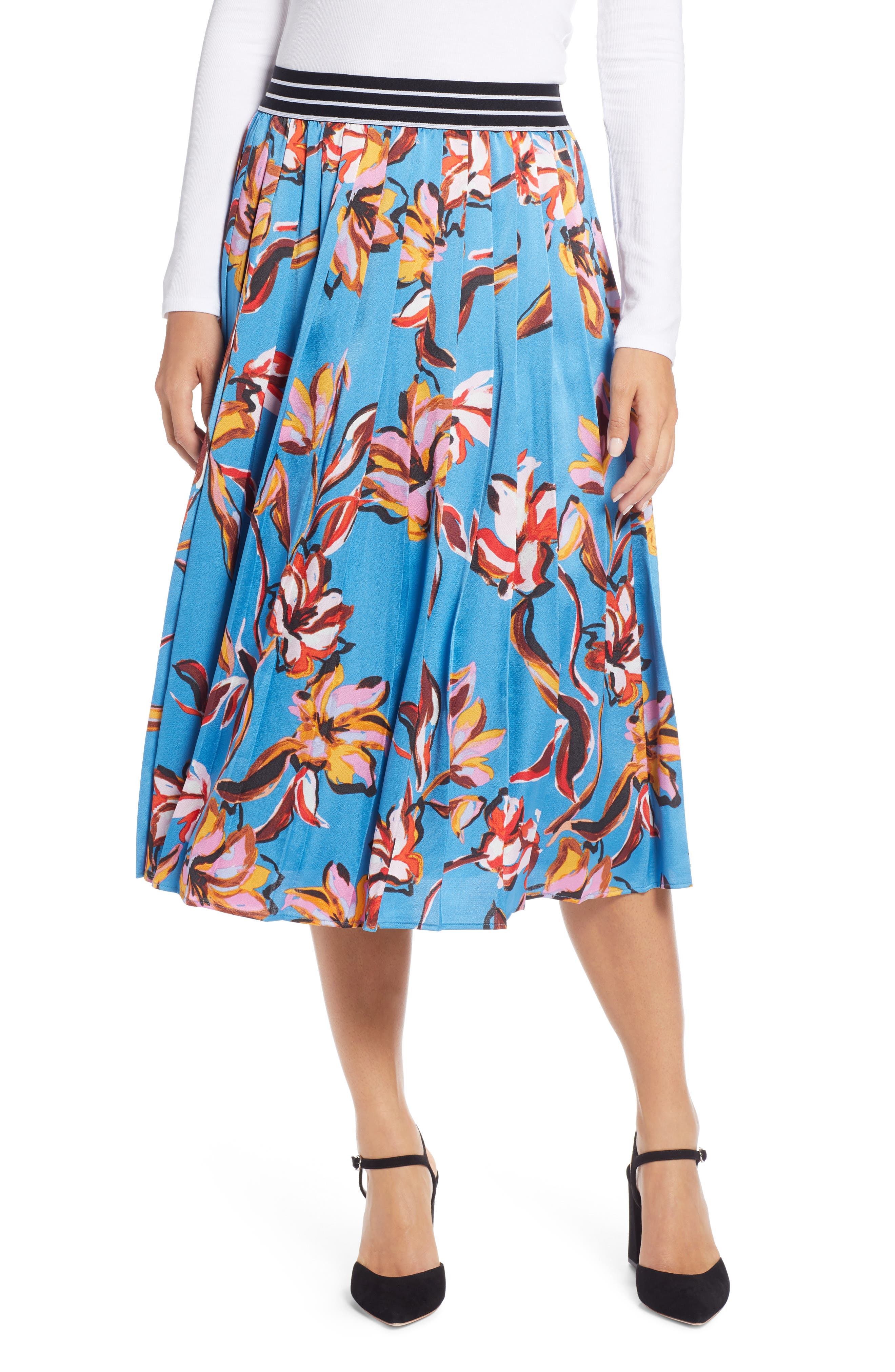 HALOGEN<SUP>®</SUP> Printed Pleated Skirt, Main, color, 420