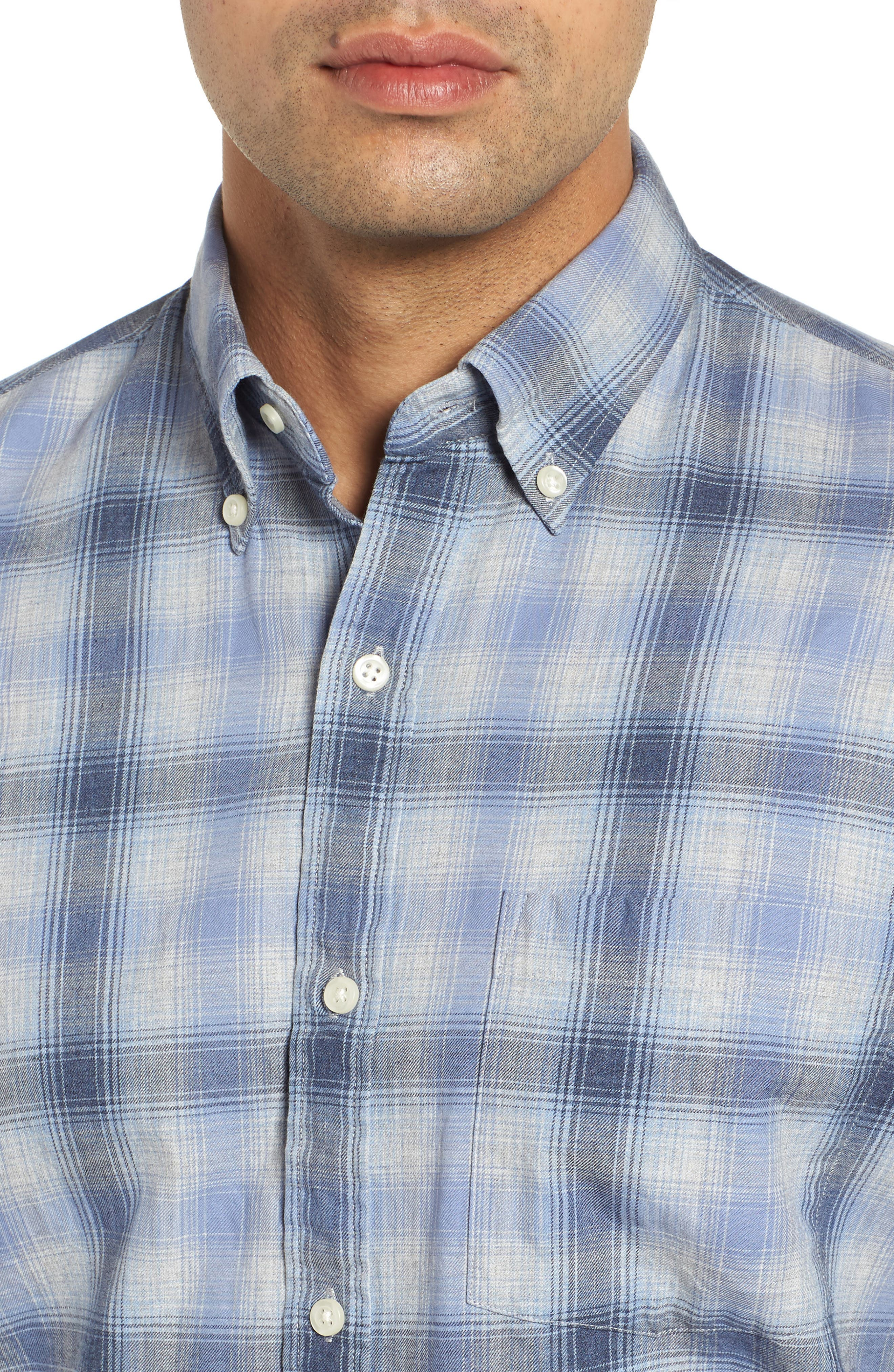 Mountain Fog Plaid Sport Shirt,                             Alternate thumbnail 2, color,                             ATLANTIC BLUE