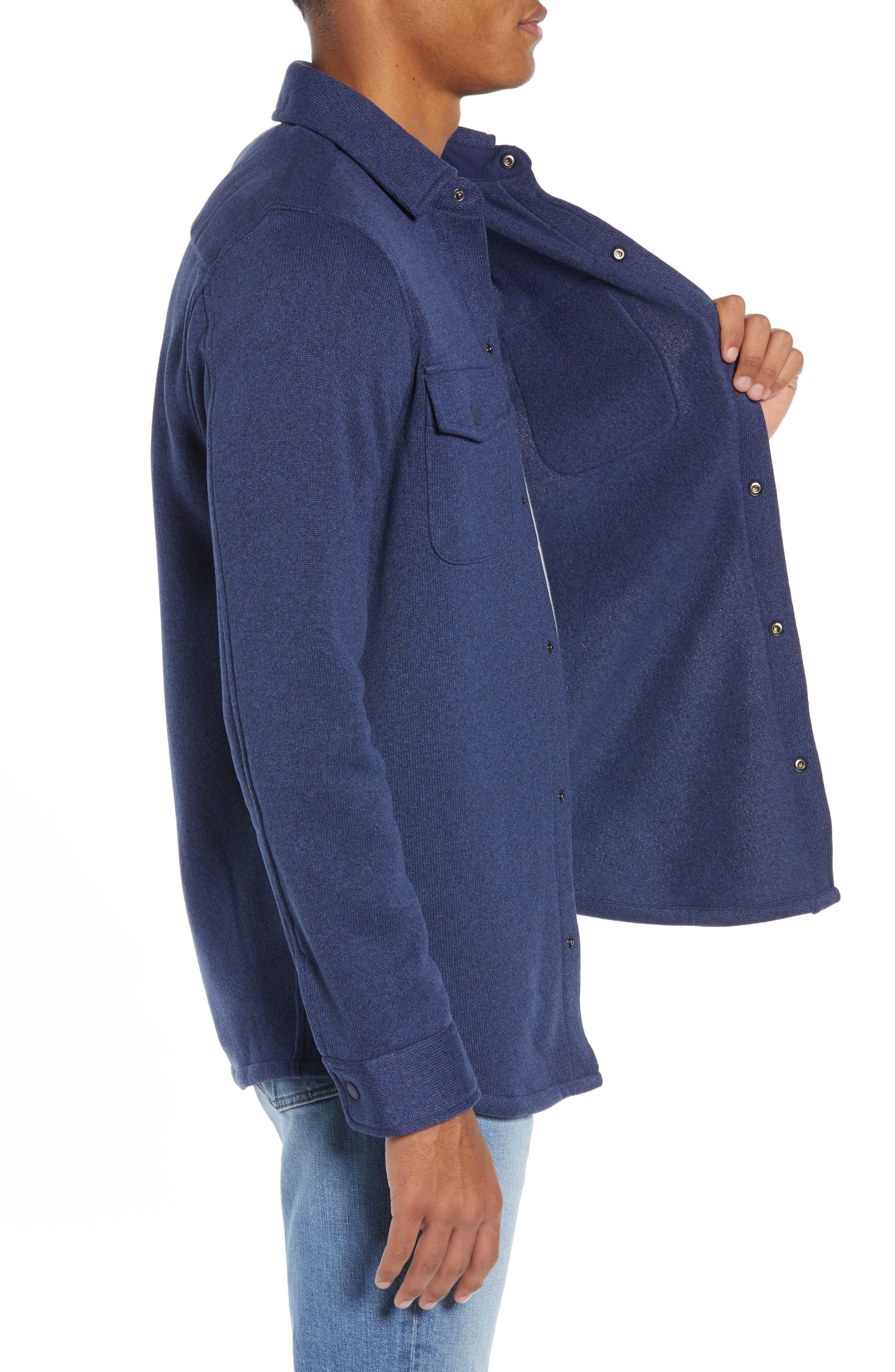 Knit Regular Fit Shirt Jacket,                             Alternate thumbnail 4, color,                             DEEP BAY