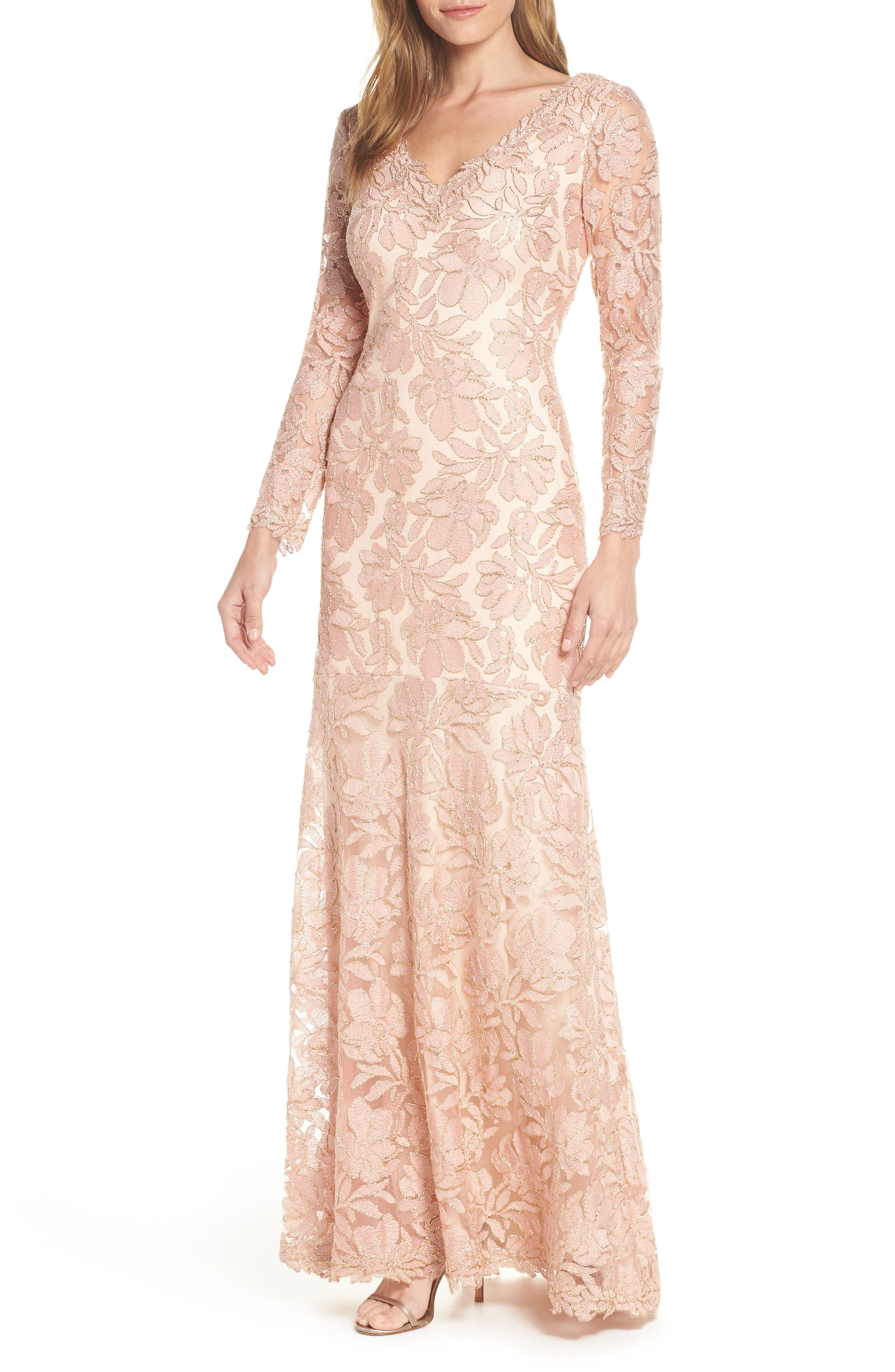 Tadashi Shoji Lace Evening Dress, Pink