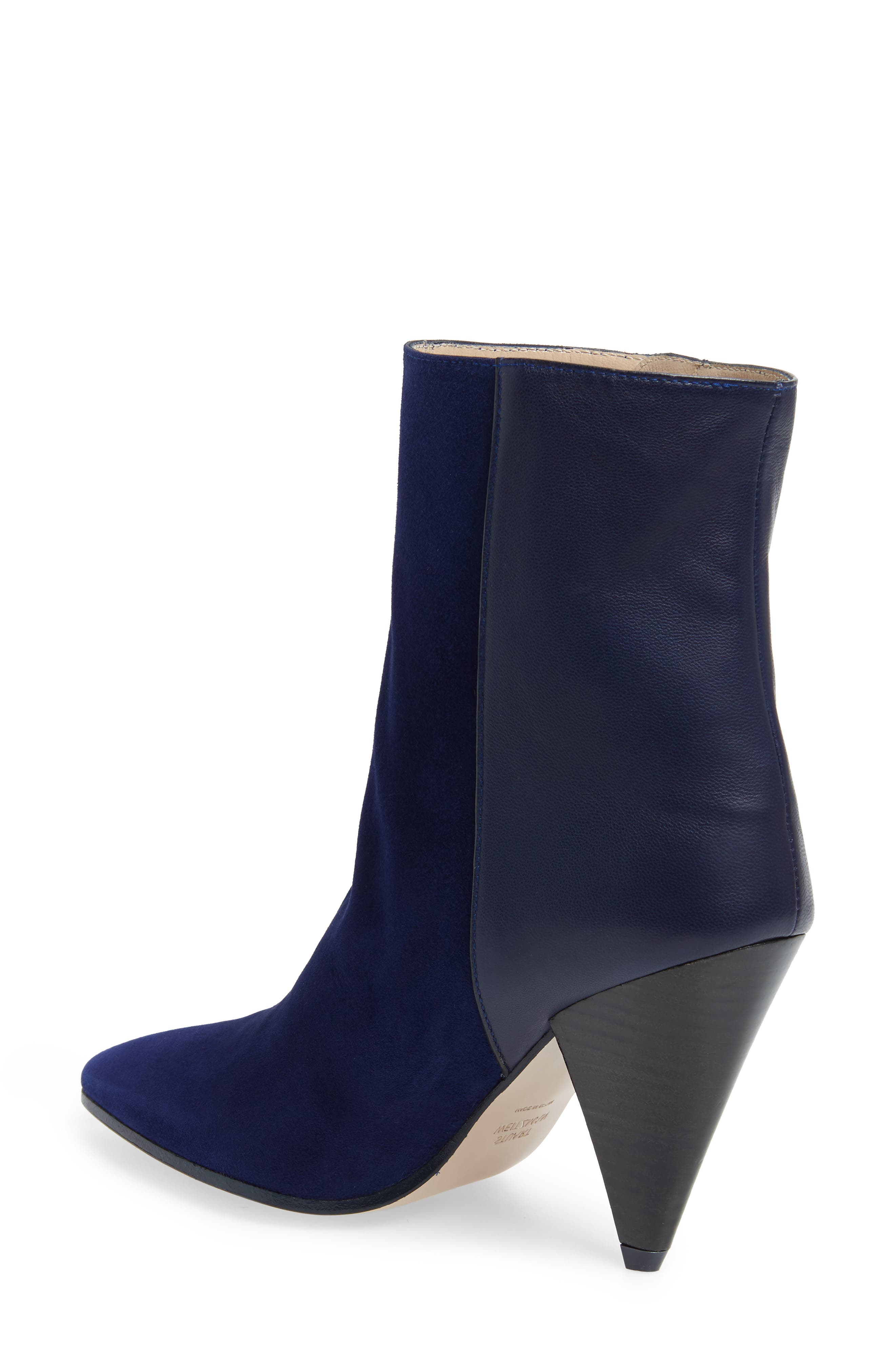 Cone Heel Bootie,                             Alternate thumbnail 2, color,                             MIDNIGHT COMBO SUEDE
