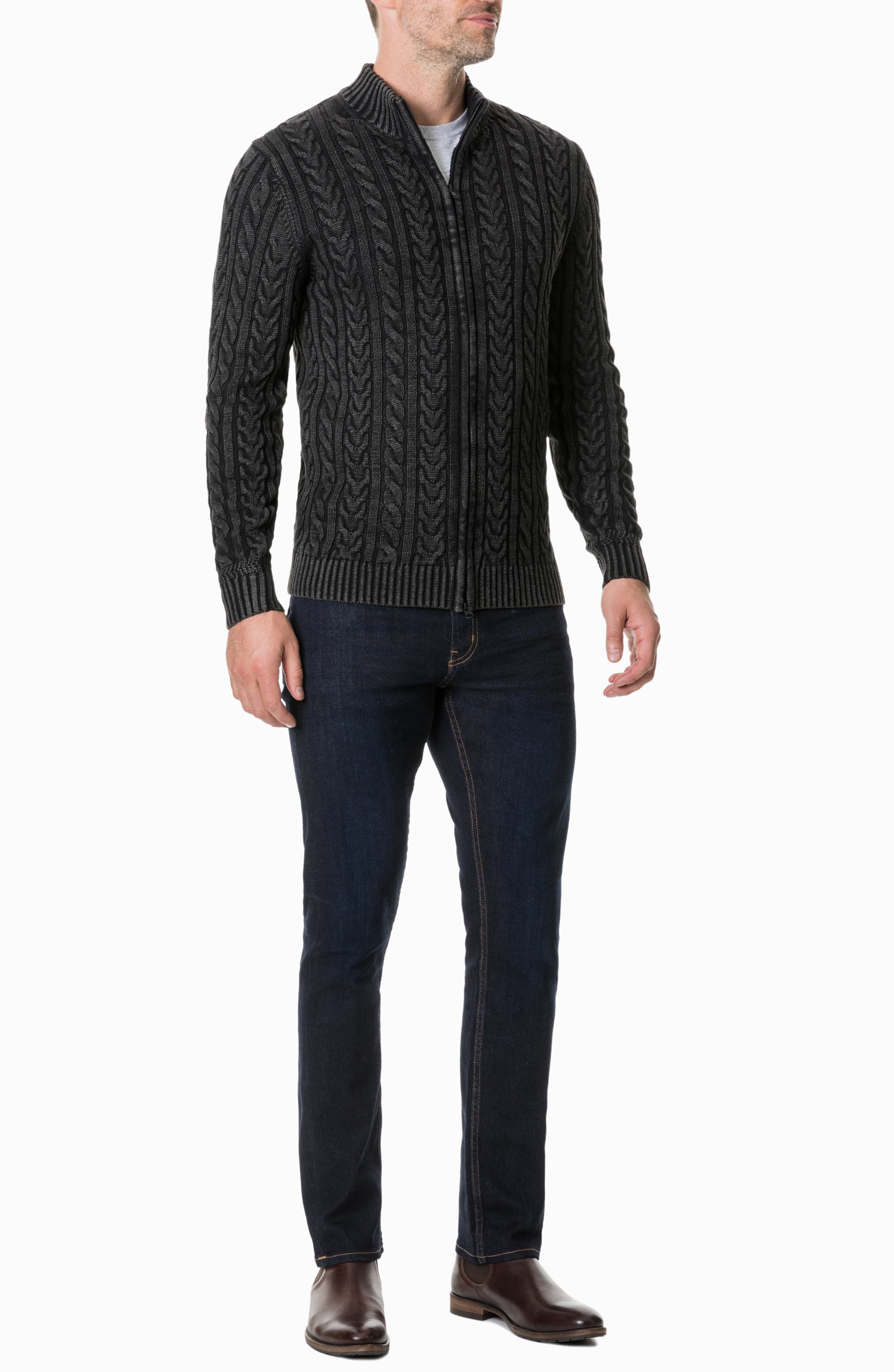 Northope Cable Zip Cardigan,                             Alternate thumbnail 4, color,                             CHARCOAL