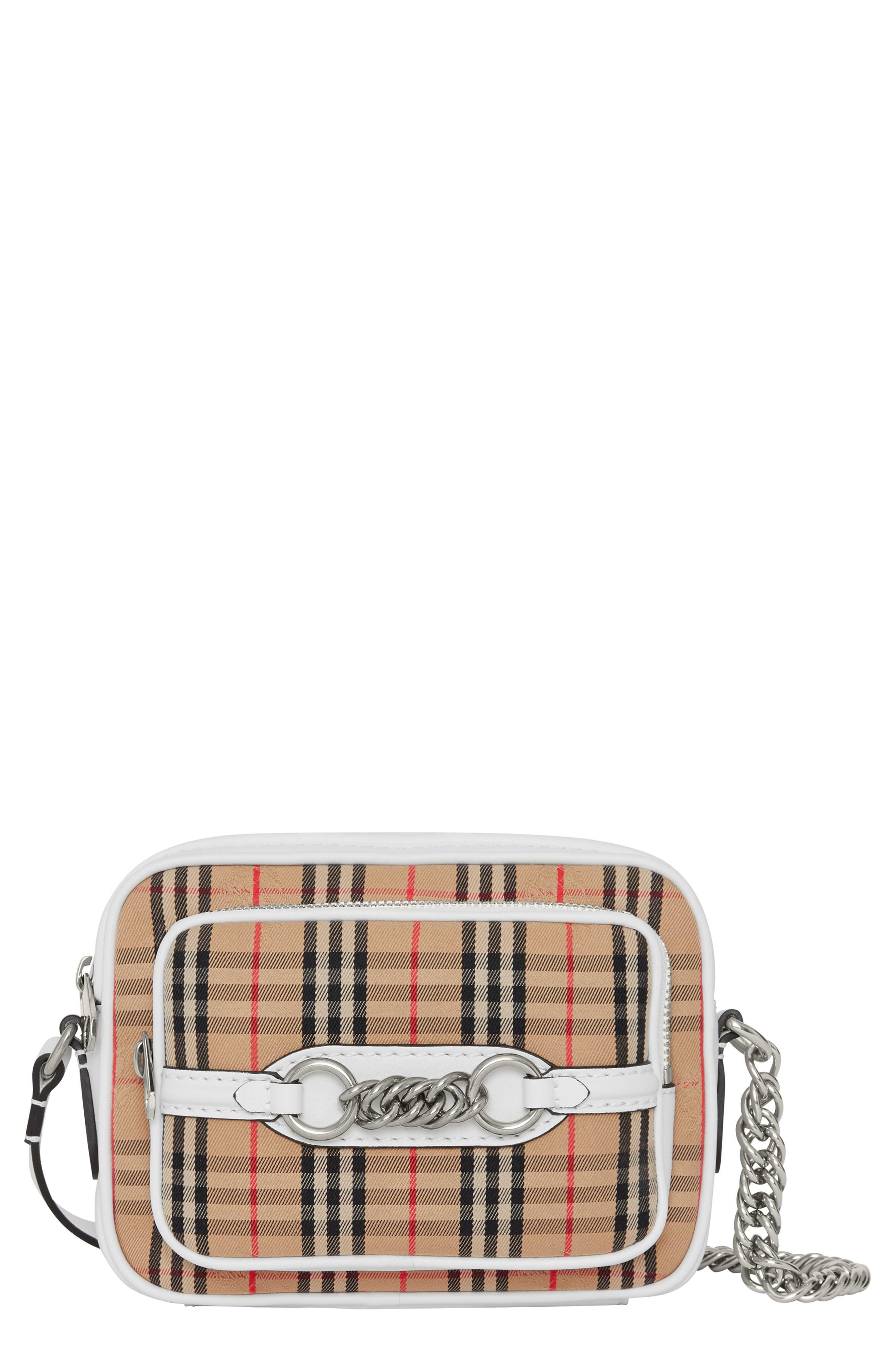 Vintage Check Link Crossbody Camera Bag,                         Main,                         color, CHALK WHITE