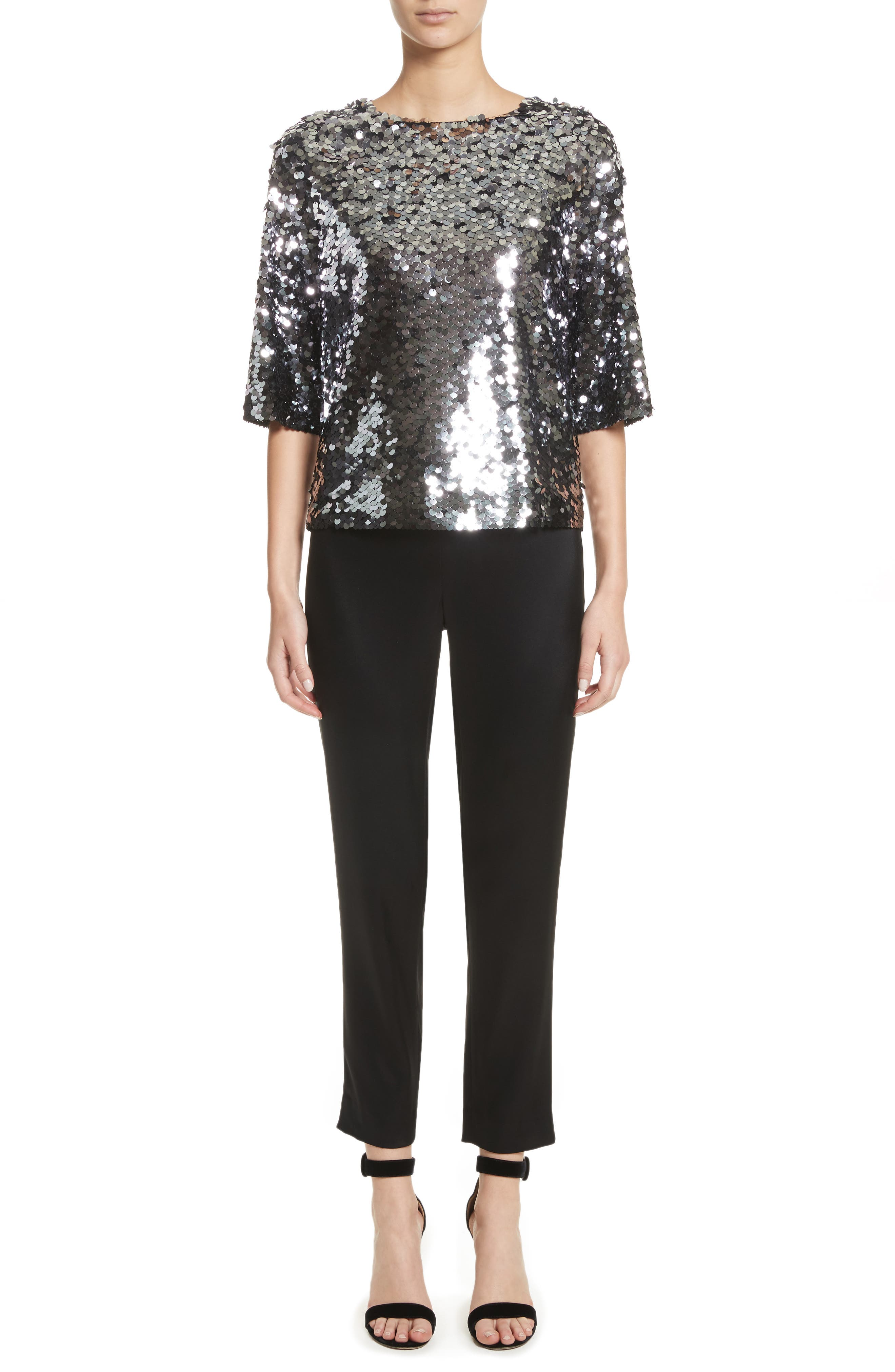 Sequin Tulle Top,                             Alternate thumbnail 7, color,