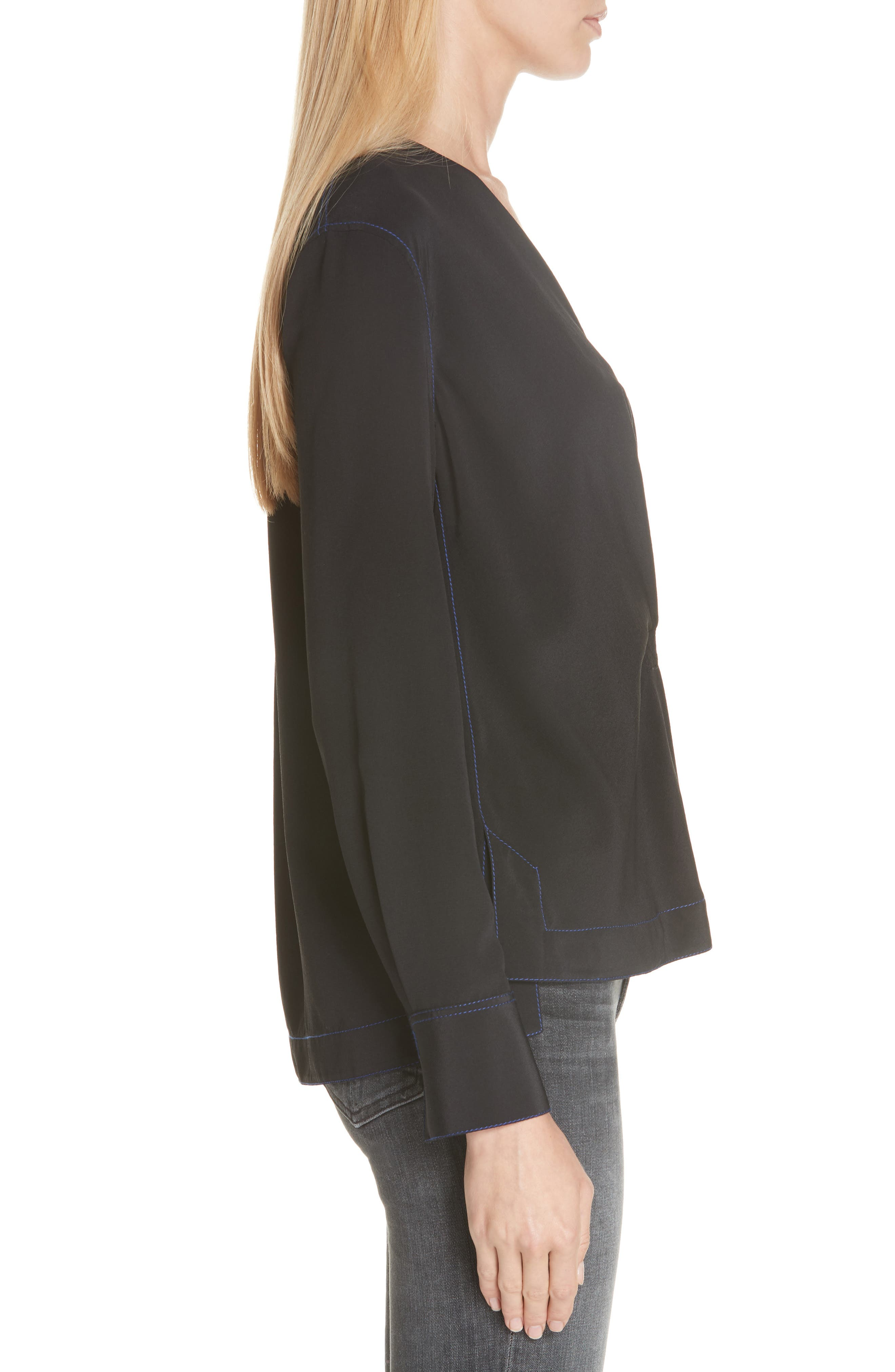 Shields Silk Blouse,                             Alternate thumbnail 3, color,                             BLACK