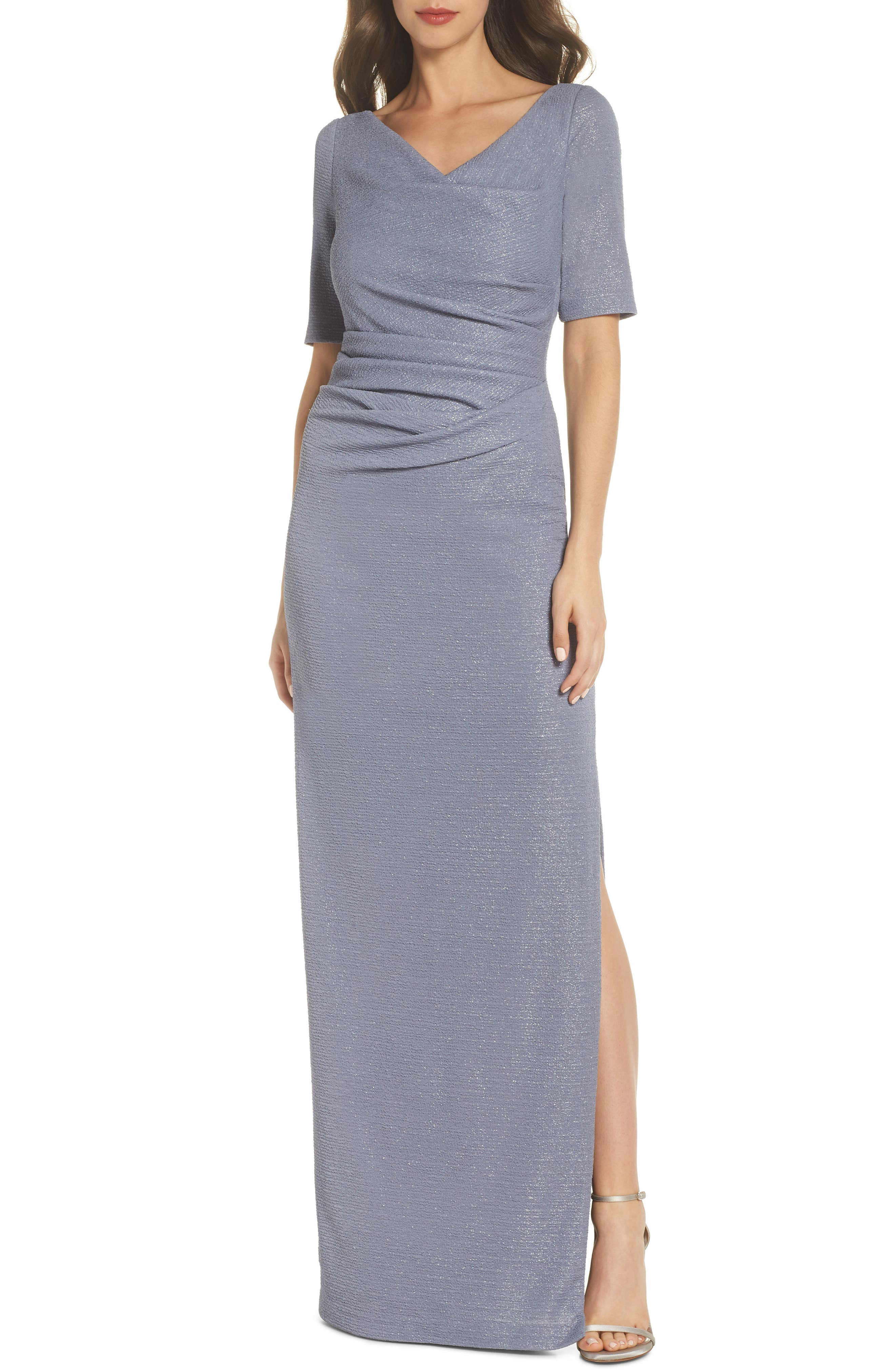 ADRIANNA PAPELL Metallic Gown, Main, color, 028