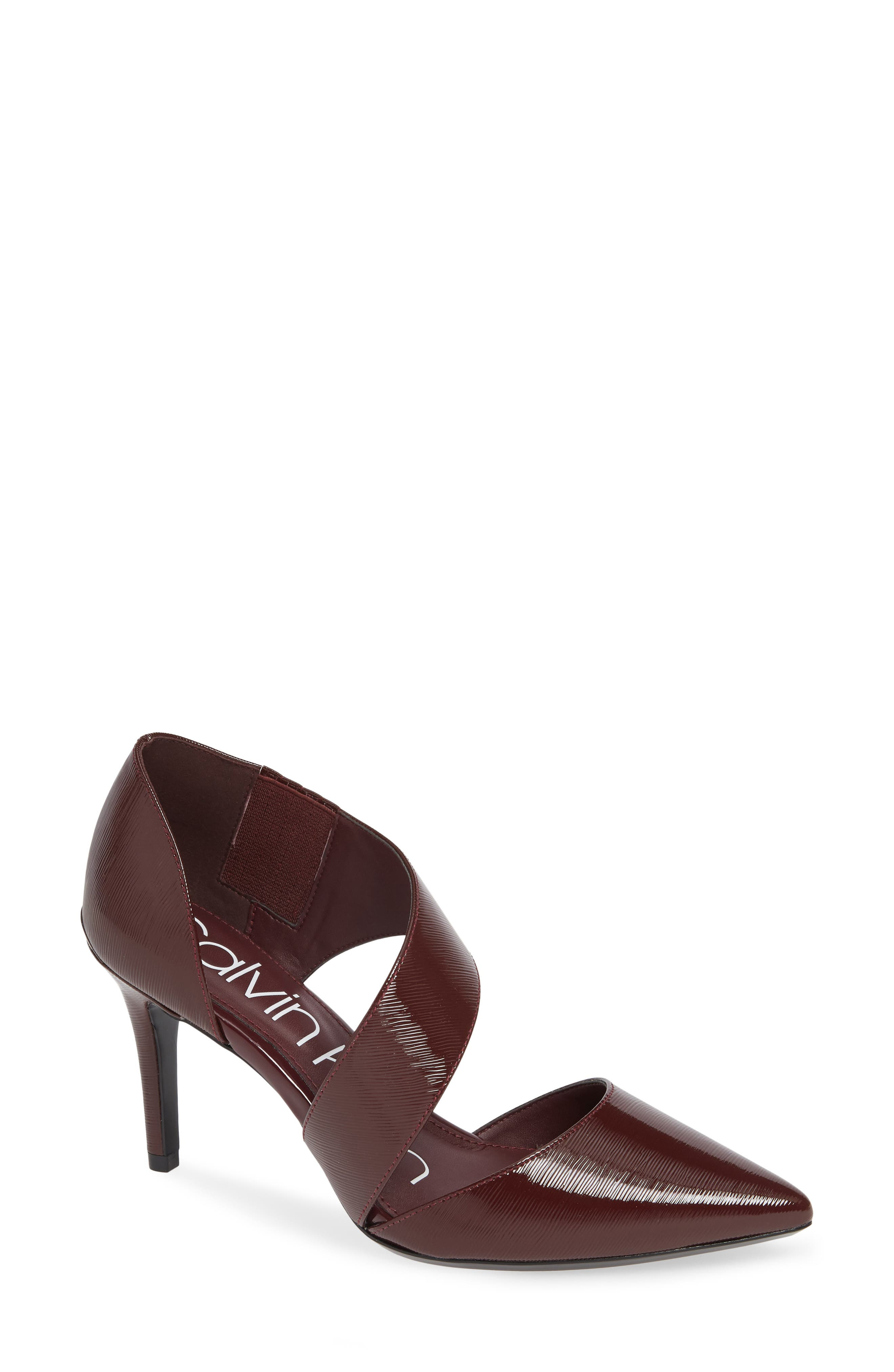 CALVIN KLEIN,                             'Gella' Pointy Toe Pump,                             Main thumbnail 1, color,                             AMETHYST PATENT LEATHER