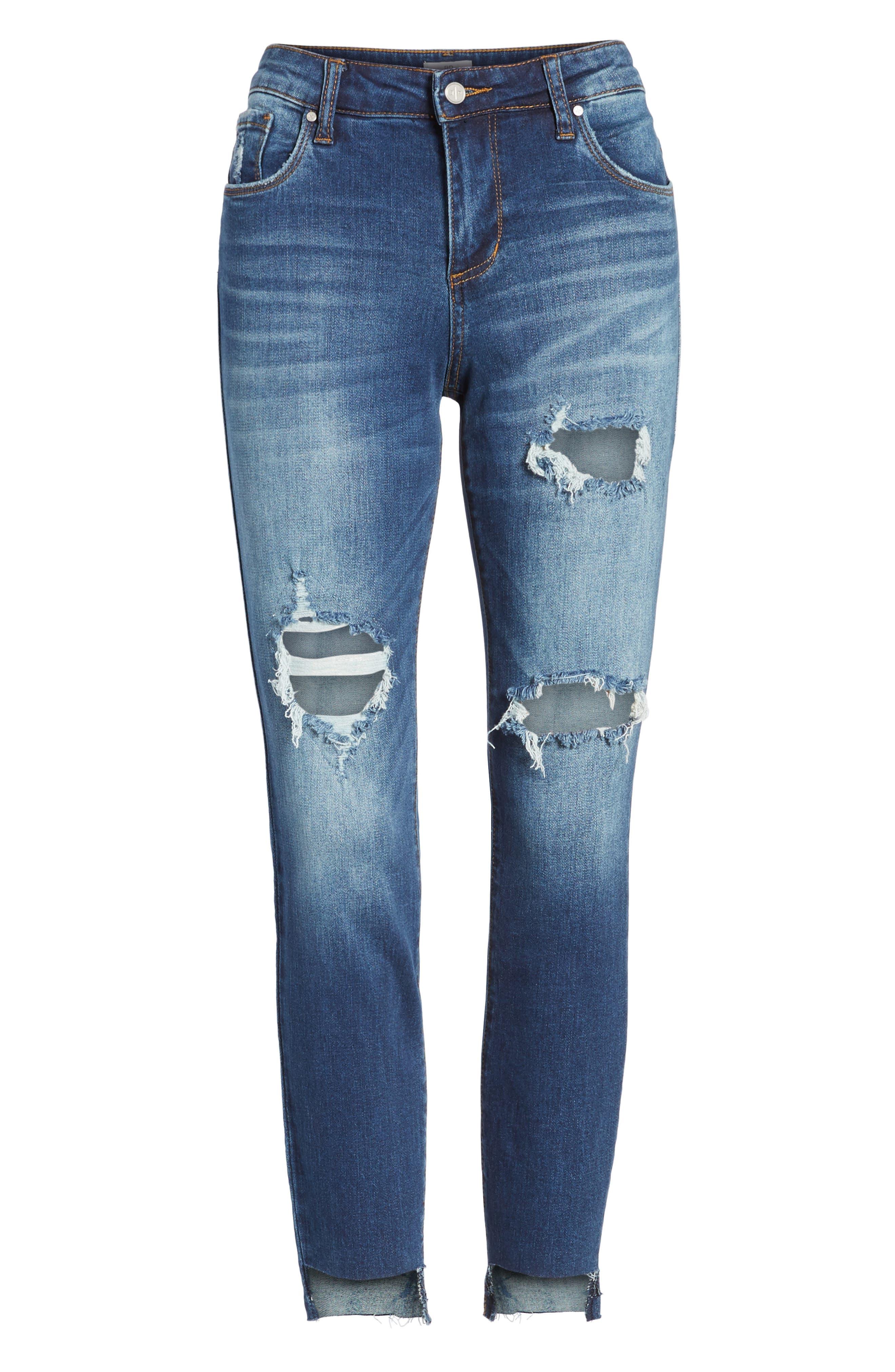 Ripped Step Hem Skinny Jeans,                             Alternate thumbnail 6, color,                             420