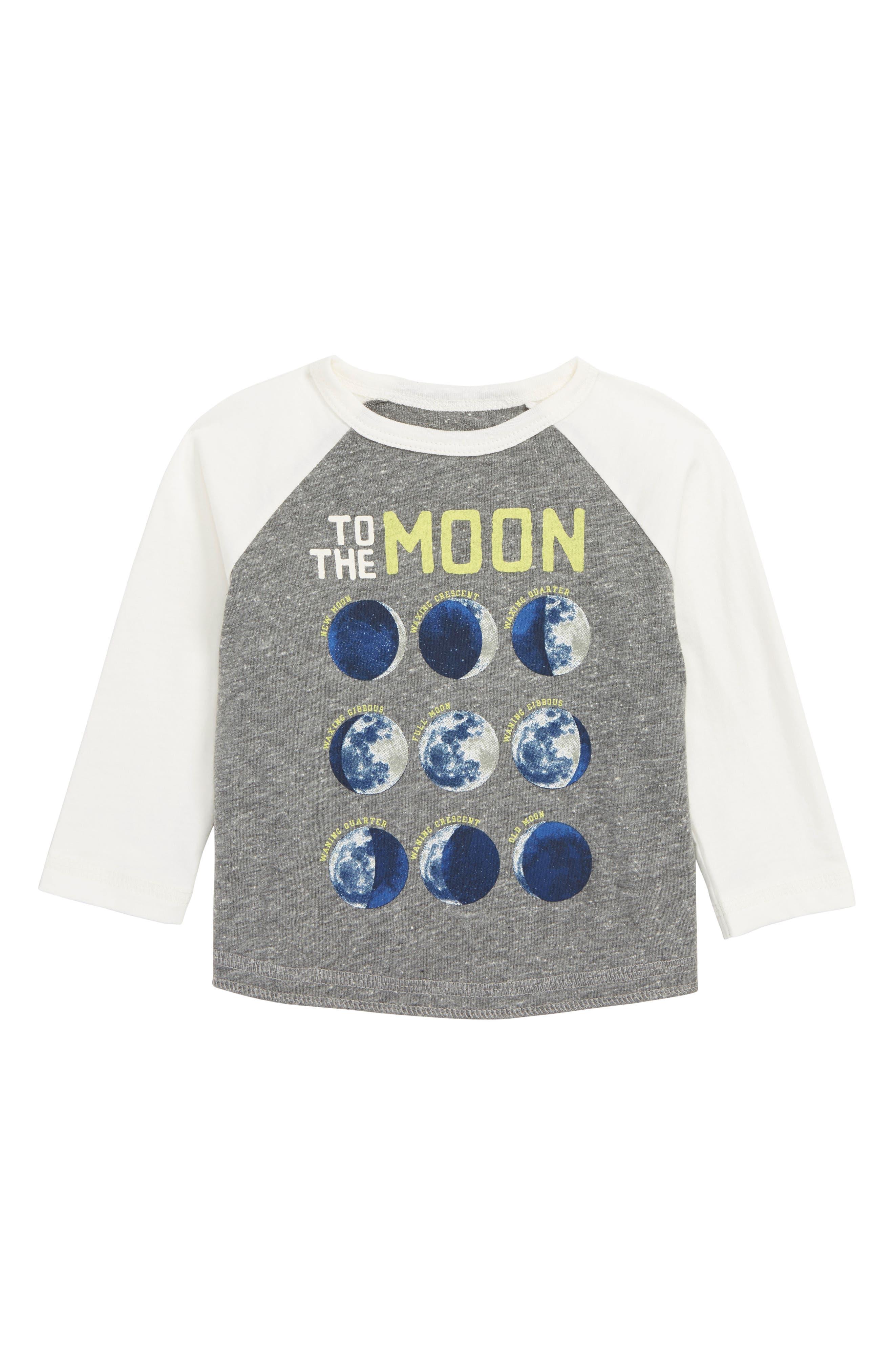 Moon and Back Glow in the Dark Raglan T-Shirt, Main, color, HEATHER GREY