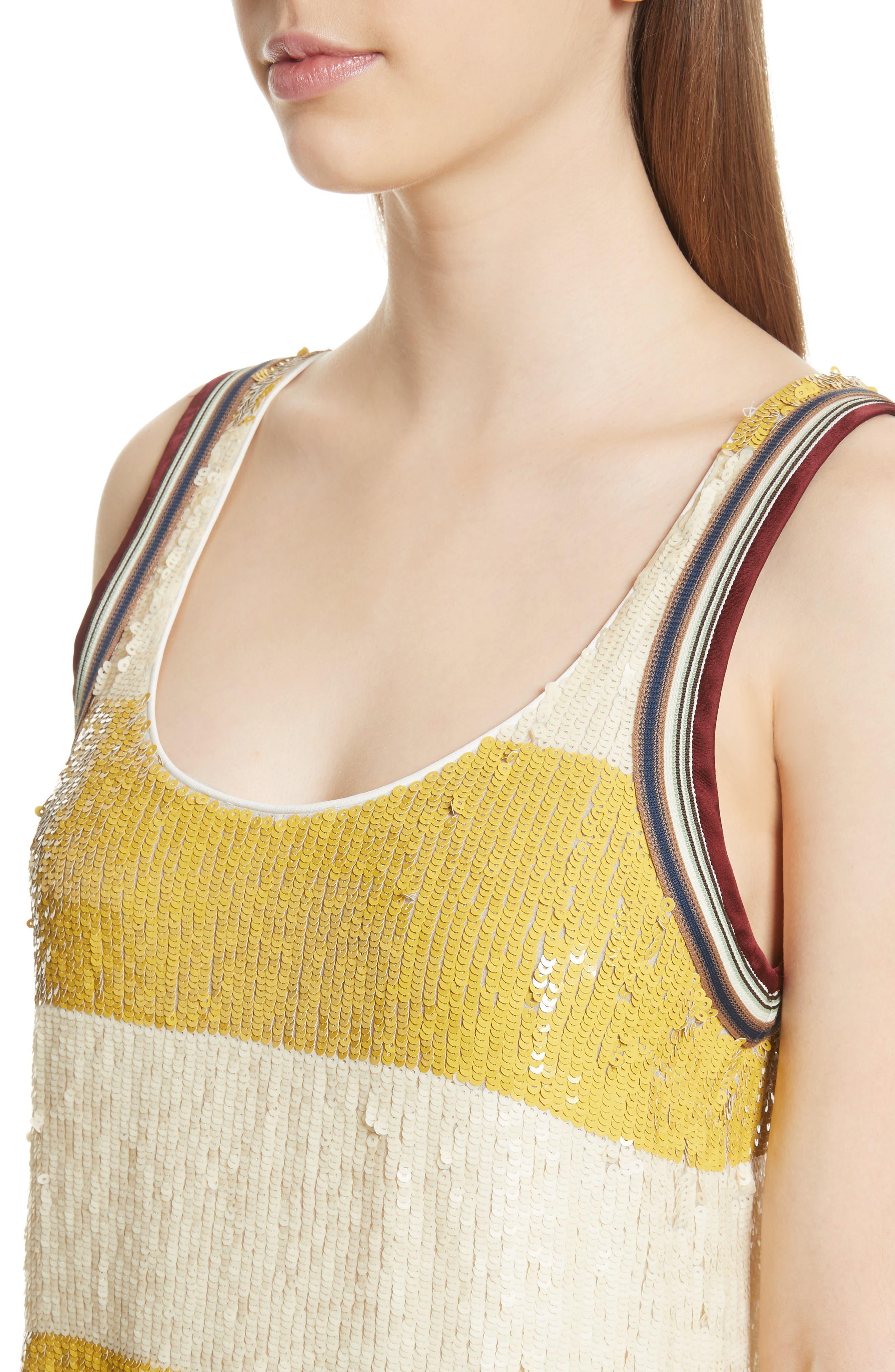 Stripe Sequin Silk Shift Dress,                             Alternate thumbnail 4, color,                             709