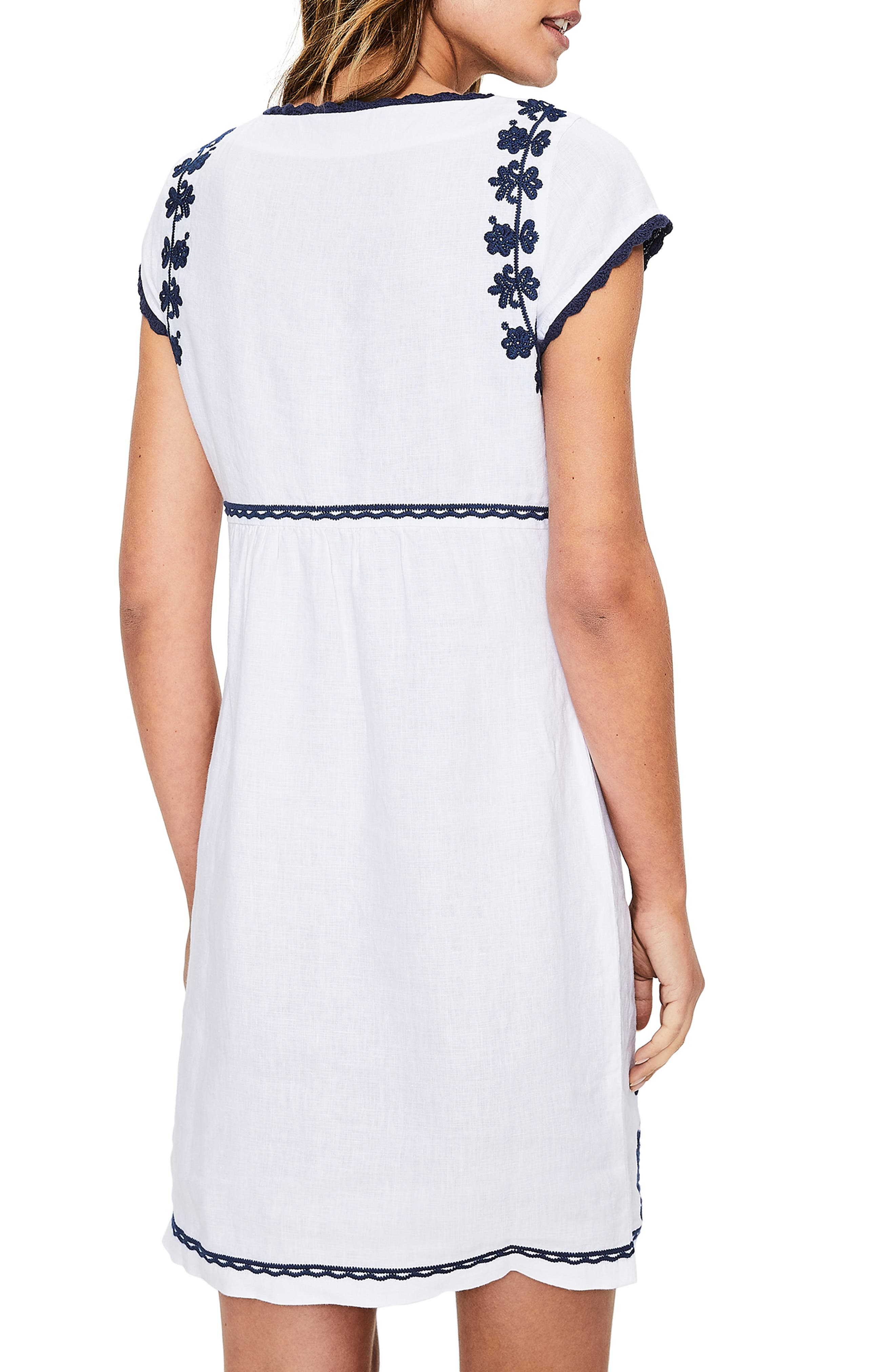 Notched Neck Embroidered Shift Dress,                             Alternate thumbnail 2, color,                             WHITE AND BLUE EMBROIDERY