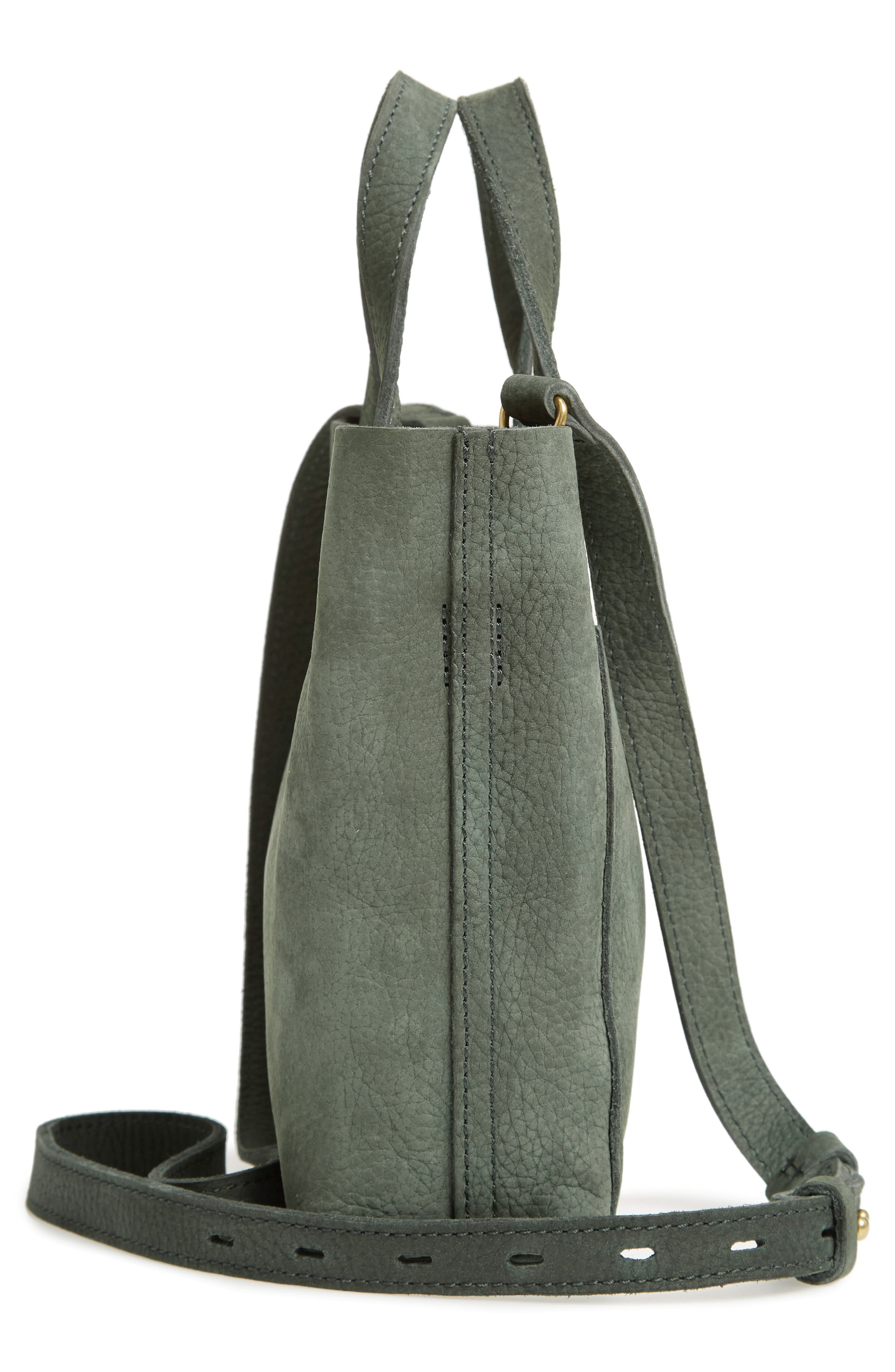 Small Transport Leather Crossbody,                             Alternate thumbnail 5, color,                             HEATHER CYPRESS