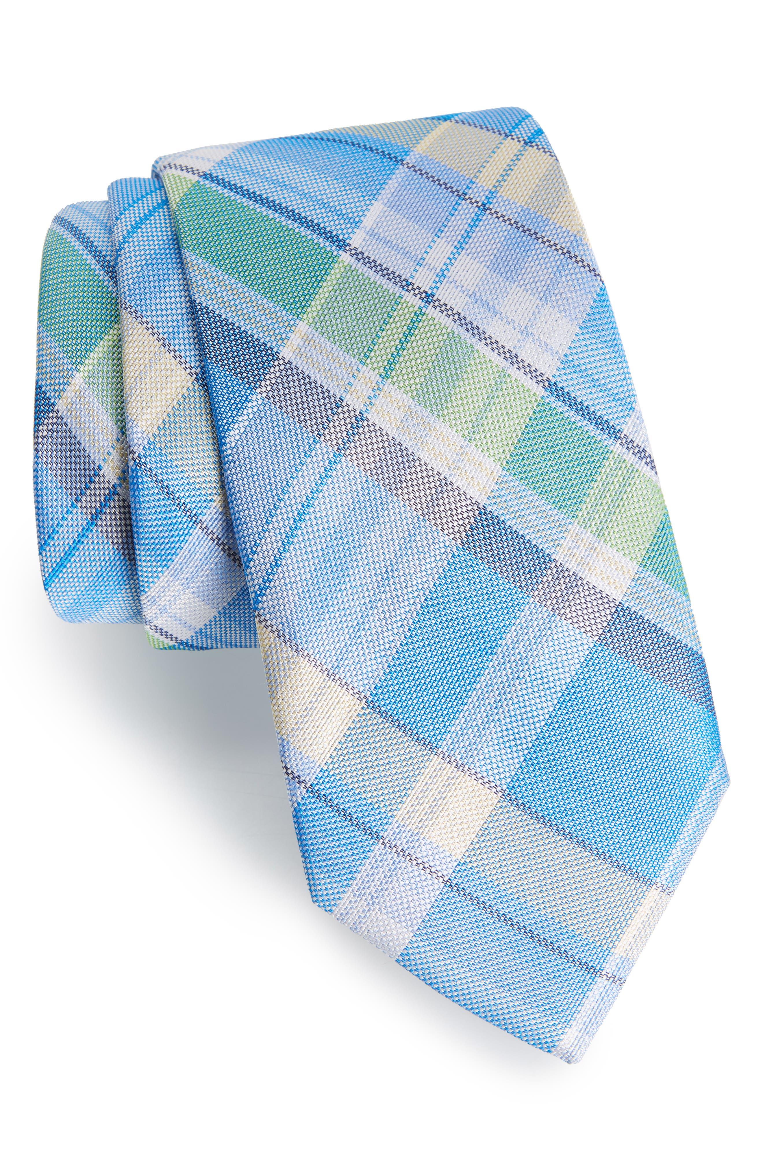 Del Rio Plaid Silk Tie,                         Main,                         color, BLUE