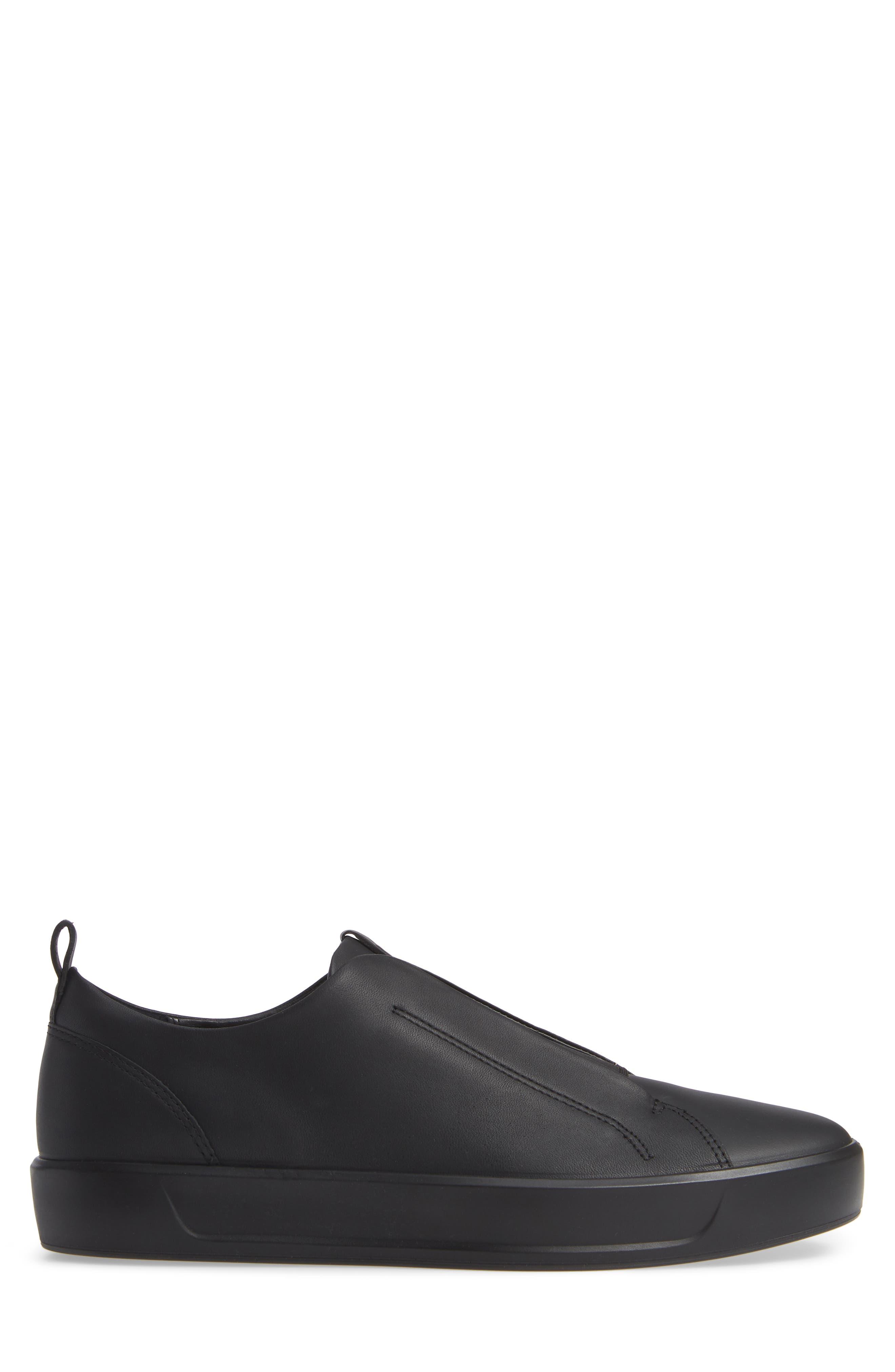 Soft 8 Slip-On Sneaker,                             Alternate thumbnail 3, color,                             BLACK/ BLACK LEATHER