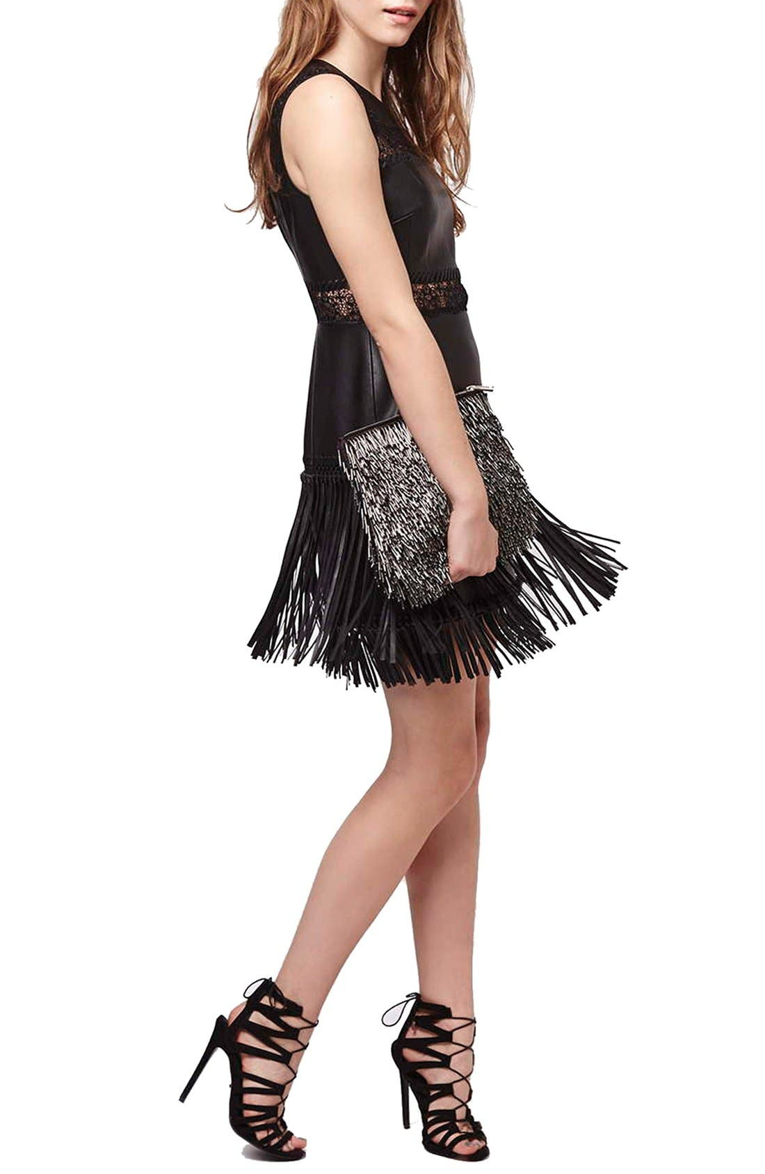 TOPSHOP,                             Lace Fringe Faux Leather Dress,                             Alternate thumbnail 3, color,                             001