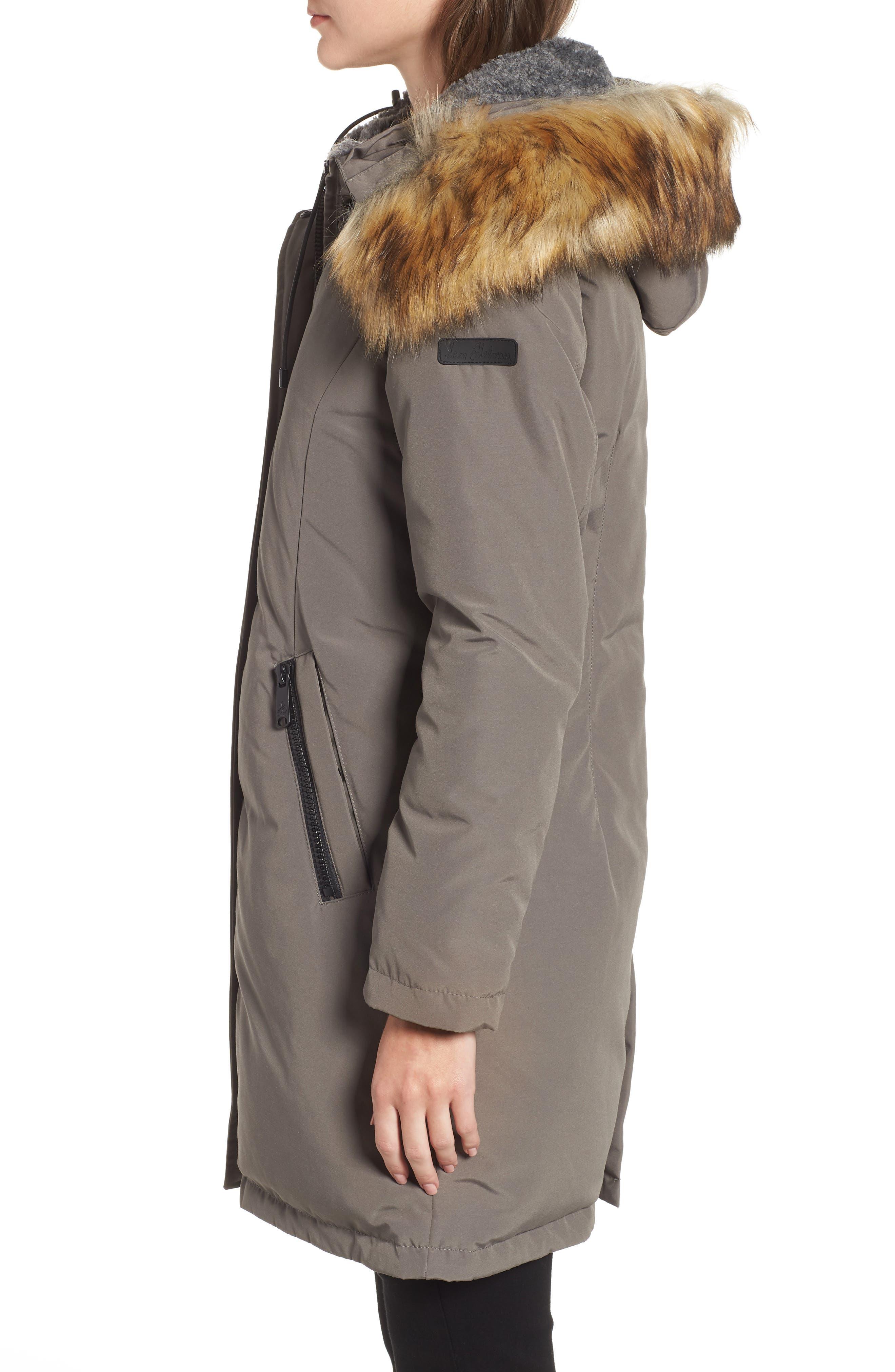 Faux Fur Trim Down Jacket,                             Alternate thumbnail 3, color,                             LIGHT GREY
