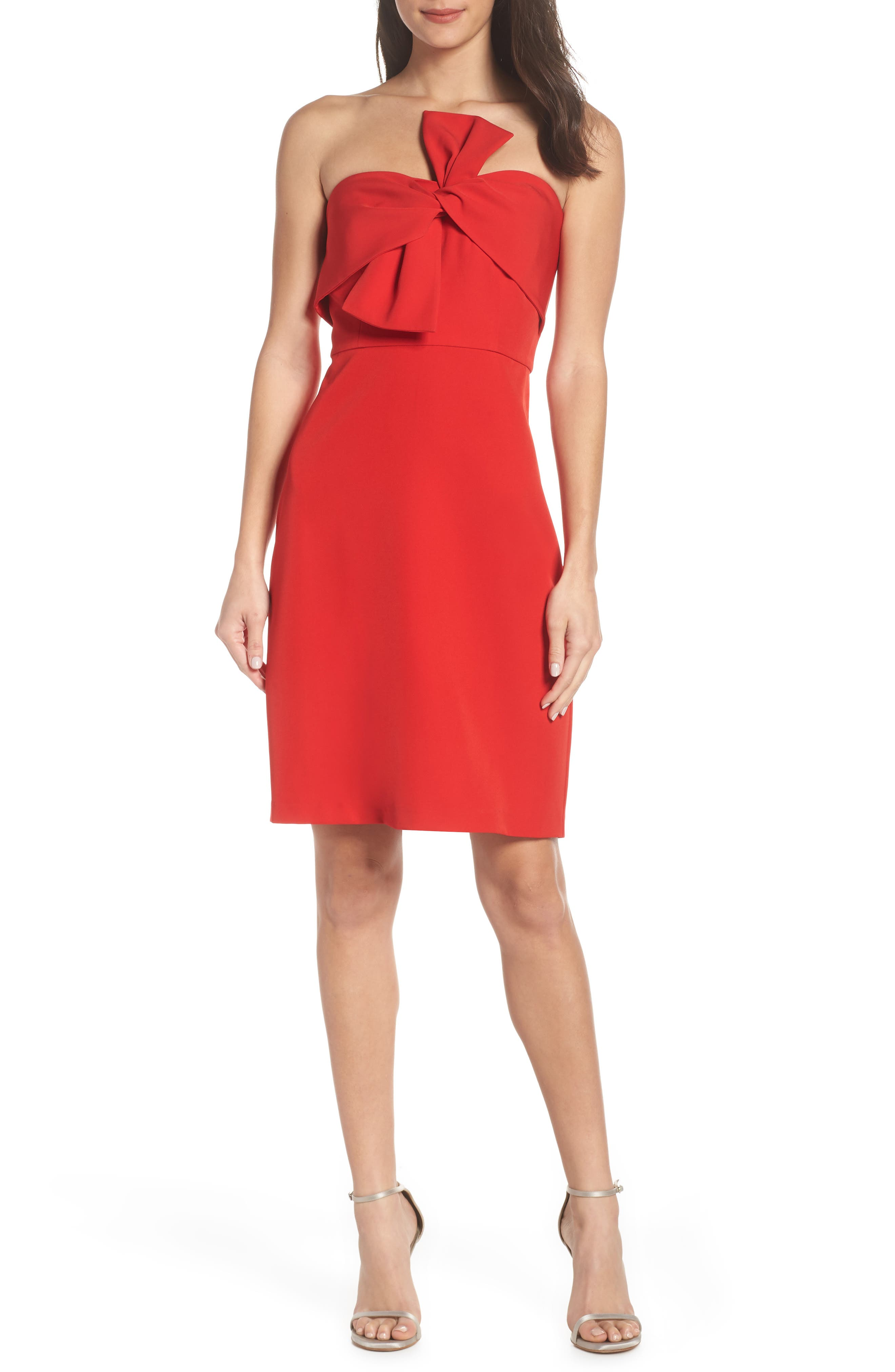 Sam Edelman Strapless Bow Detail Sheath Dress, Red