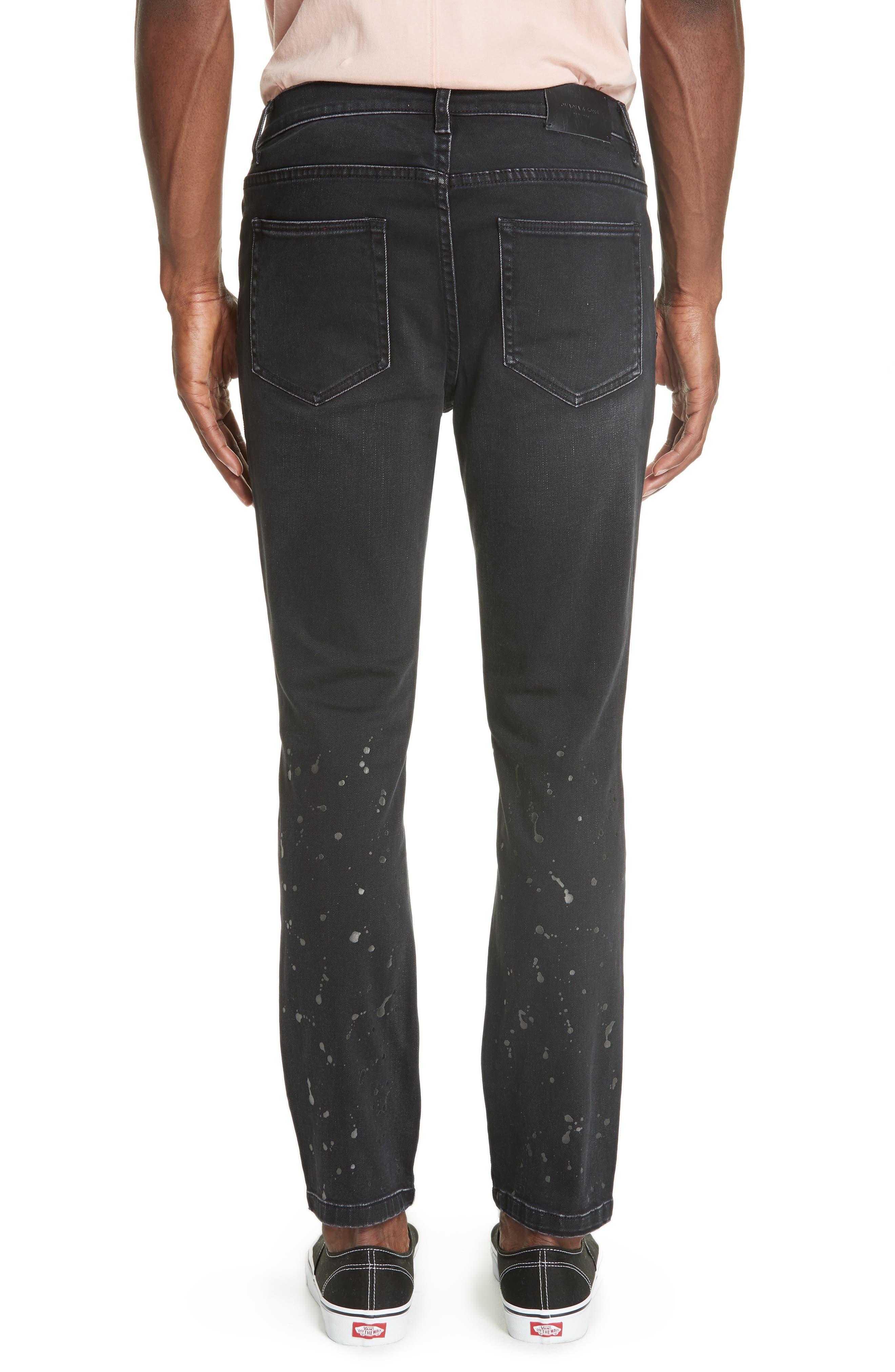 Distressed Slim Fit Jeans,                             Alternate thumbnail 2, color,                             BLACK
