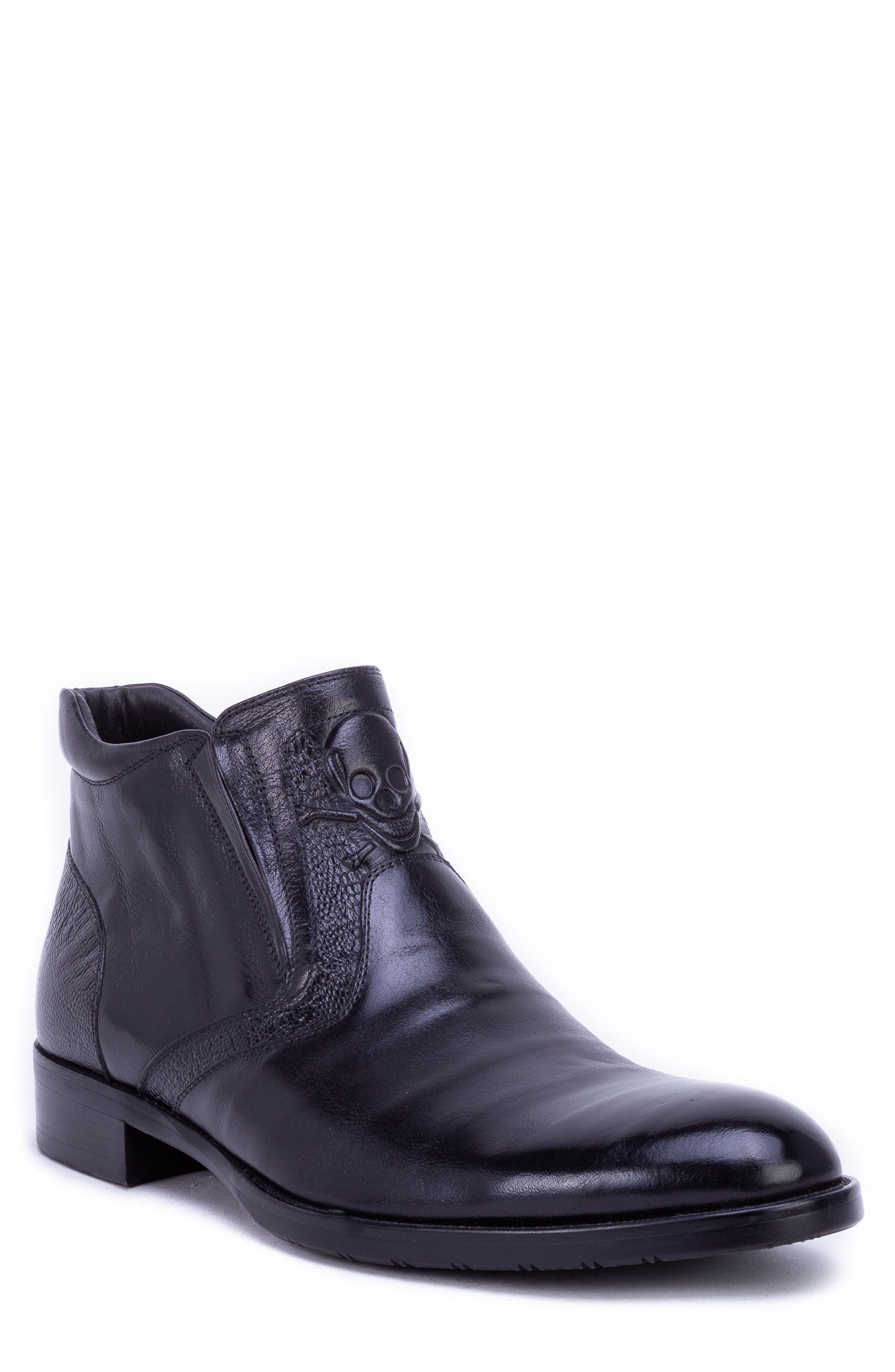 Gordon Skull Embossed Boot,                         Main,                         color, BLACK LEATHER