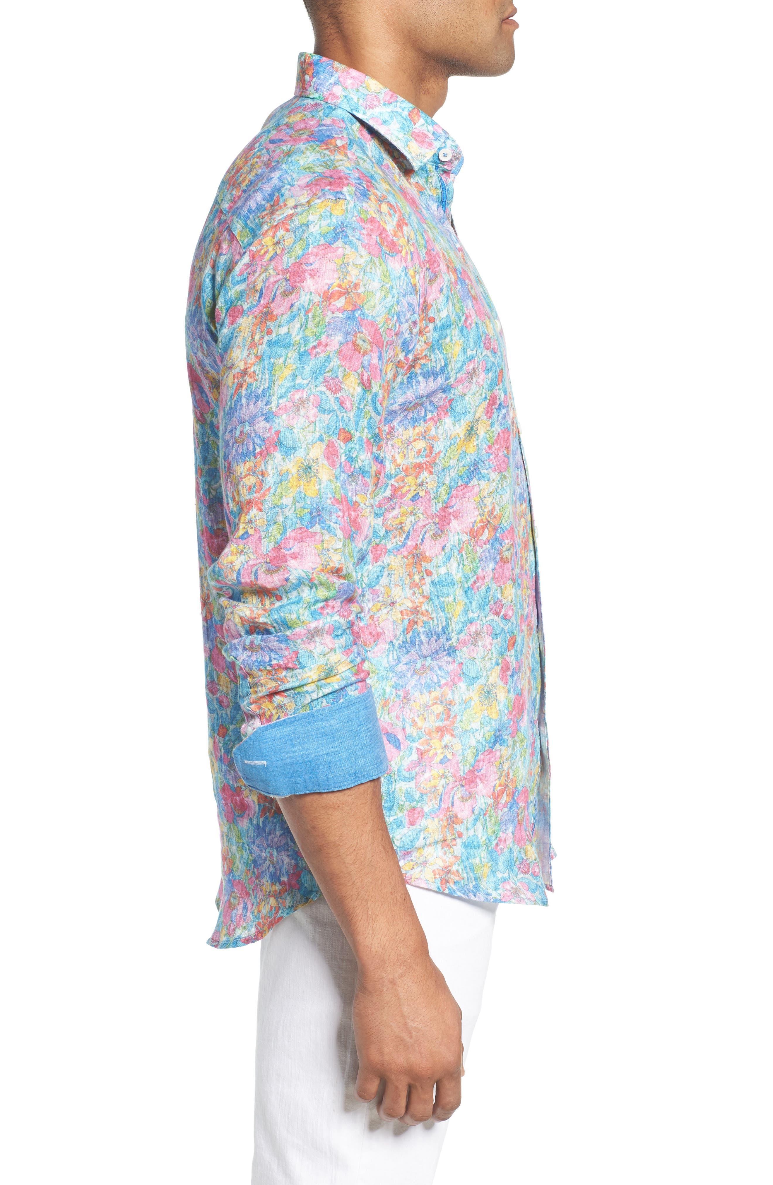 Shaped Fit Floral Linen Sport Shirt,                             Alternate thumbnail 3, color,                             329
