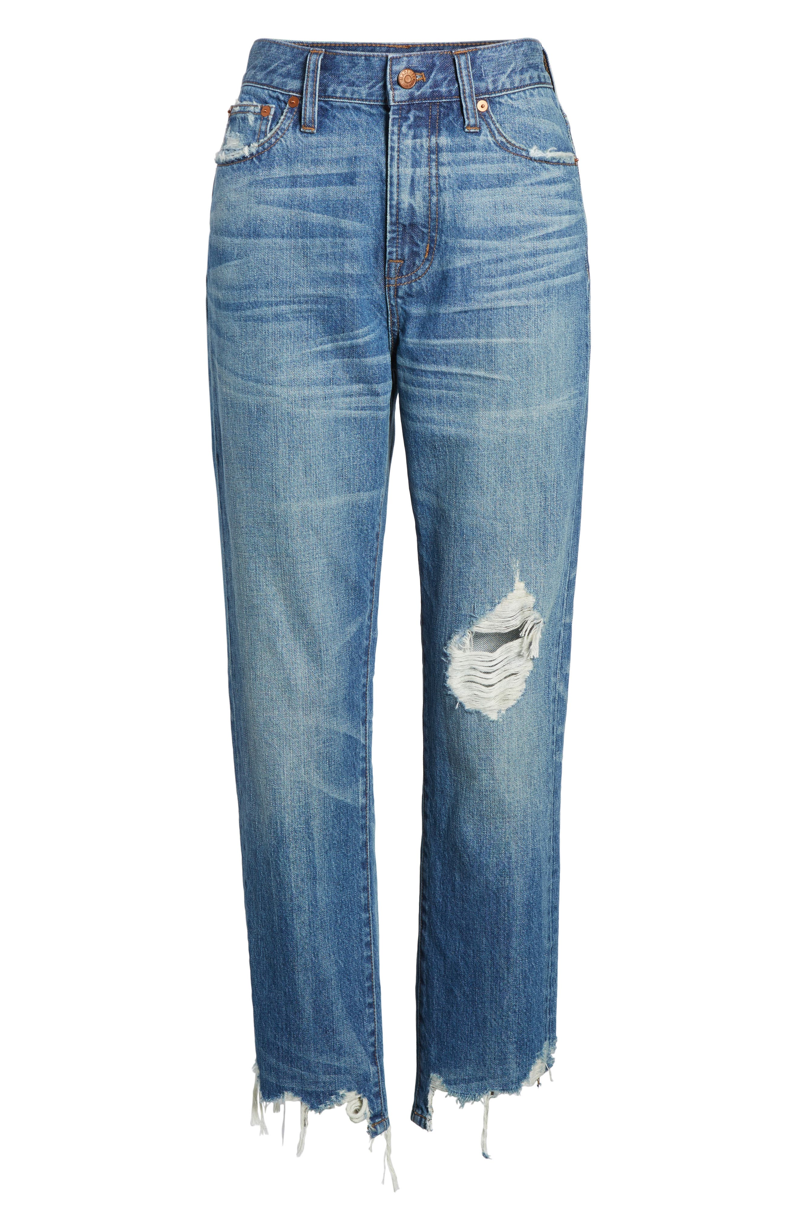 Perfect Summer Ripped High Waist Ankle Jeans,                             Alternate thumbnail 7, color,                             400