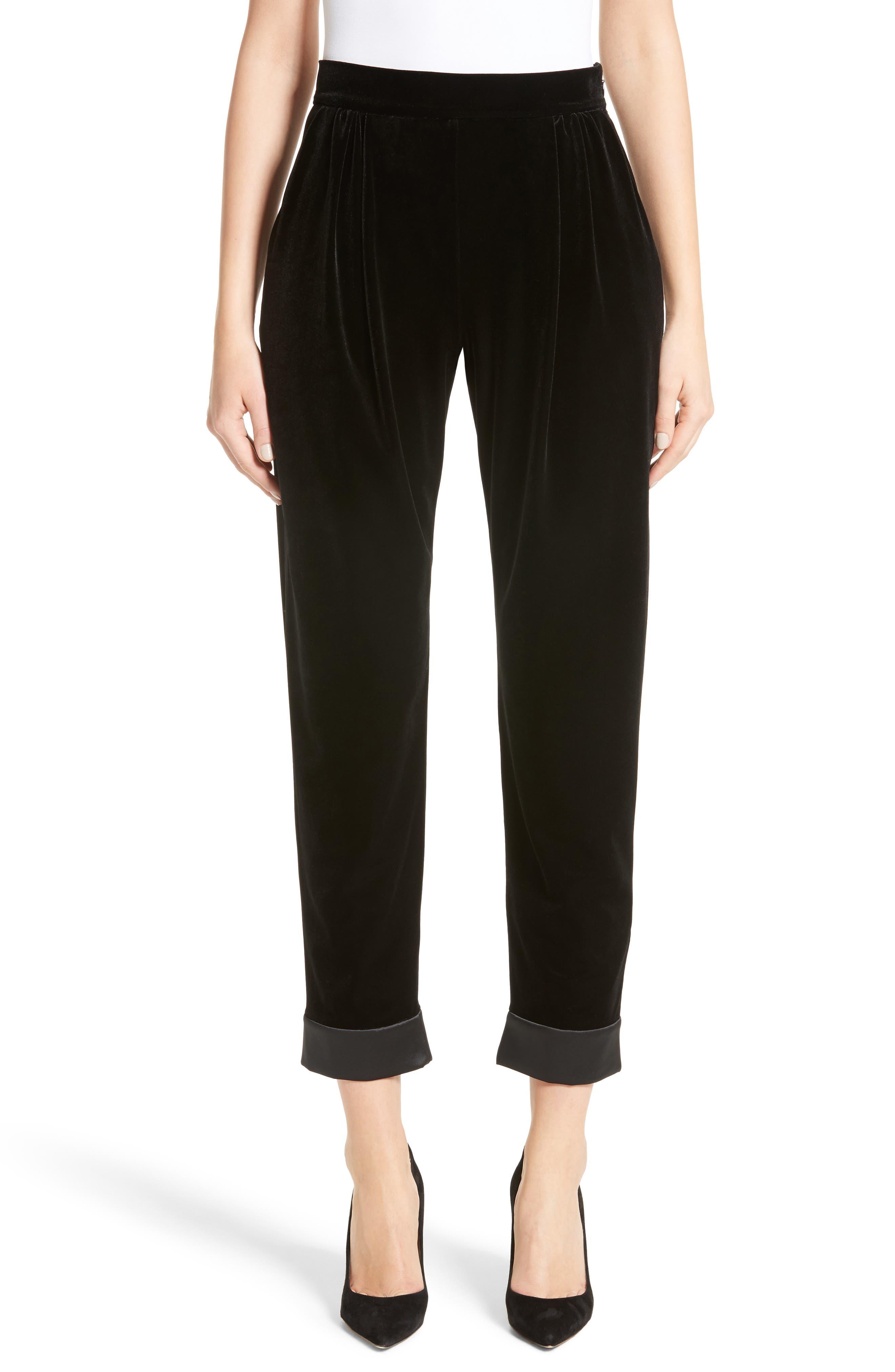 Stretch Velvet Ankle Pants,                         Main,                         color,