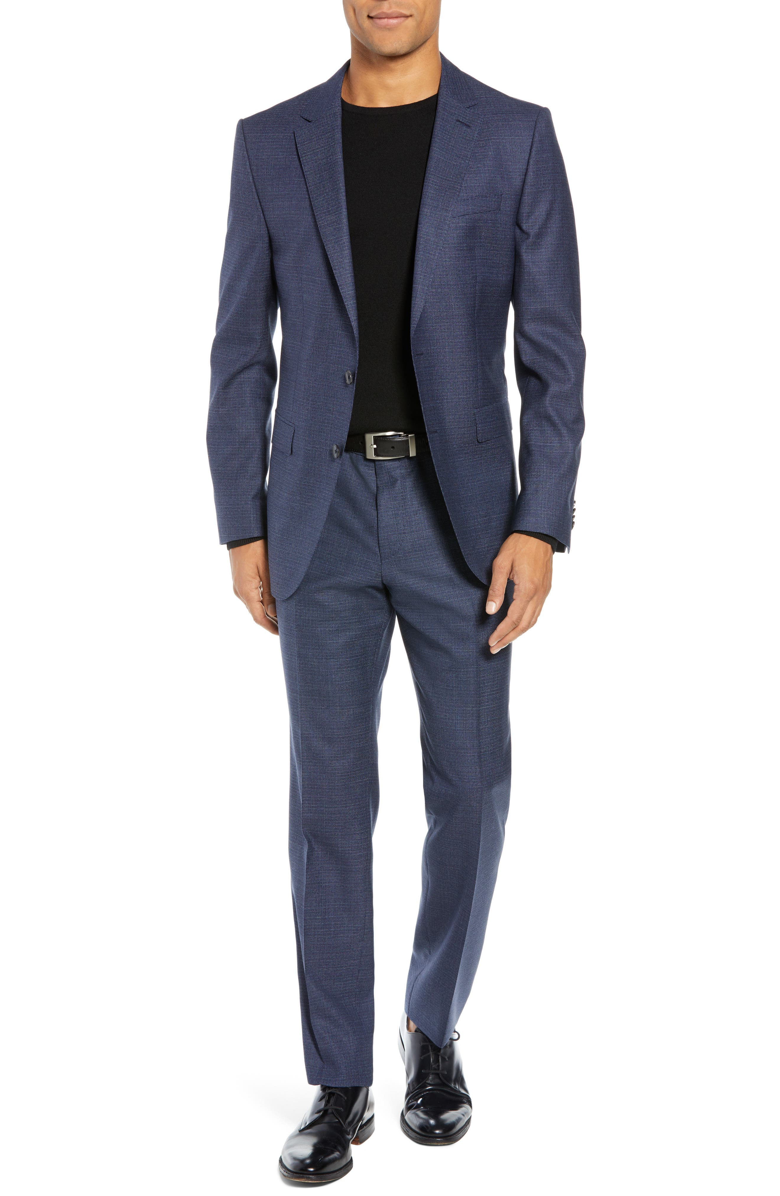 Novan/Ben Trim Fit Check Wool Suit,                         Main,                         color, DARK BLUE