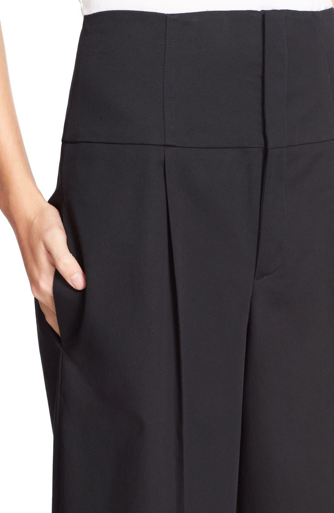 Wide Leg Stretch Cotton Crop Pants,                             Alternate thumbnail 3, color,                             001