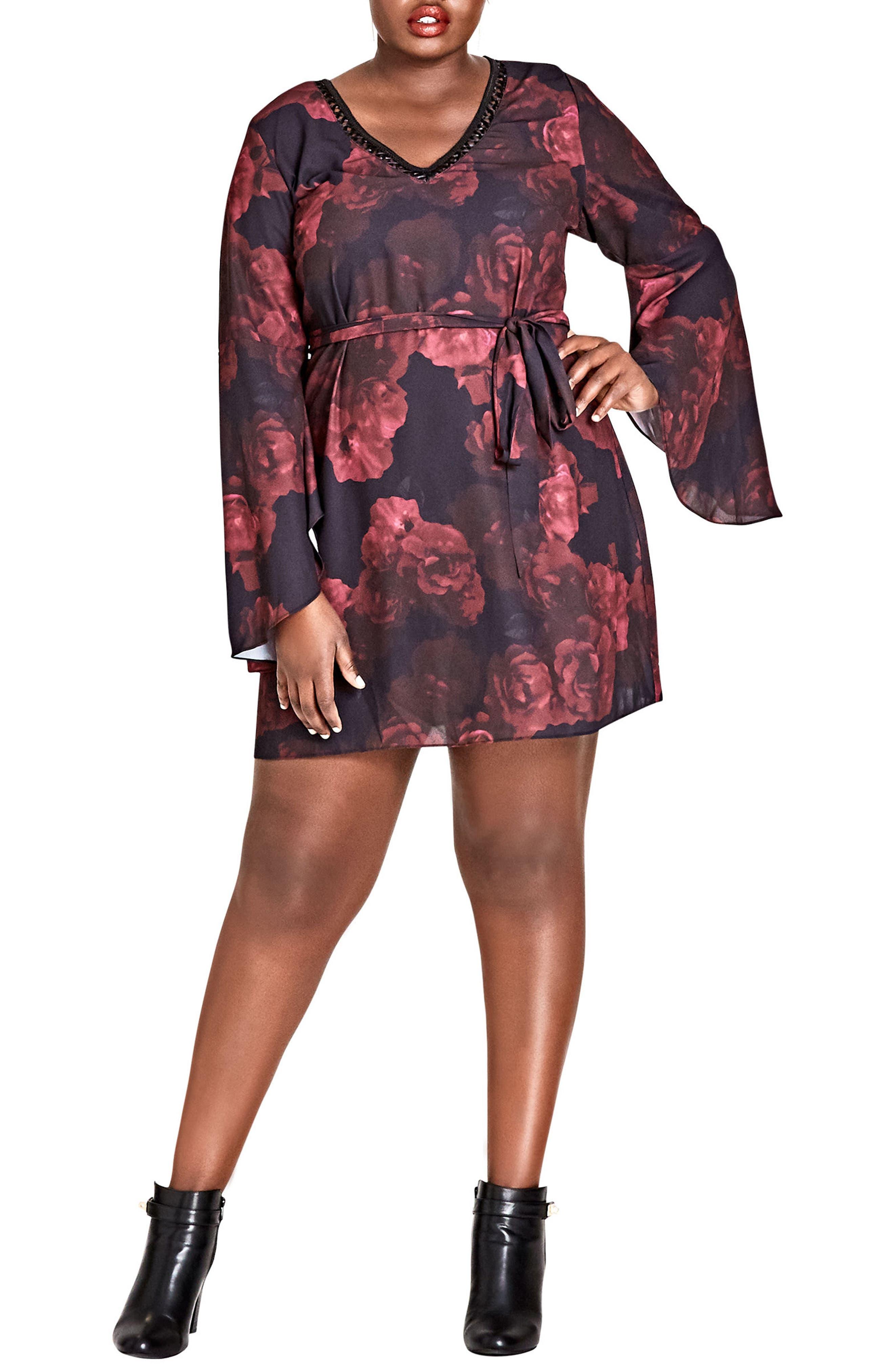 Plus Size City Chic Crimson Rose Tunic Dress