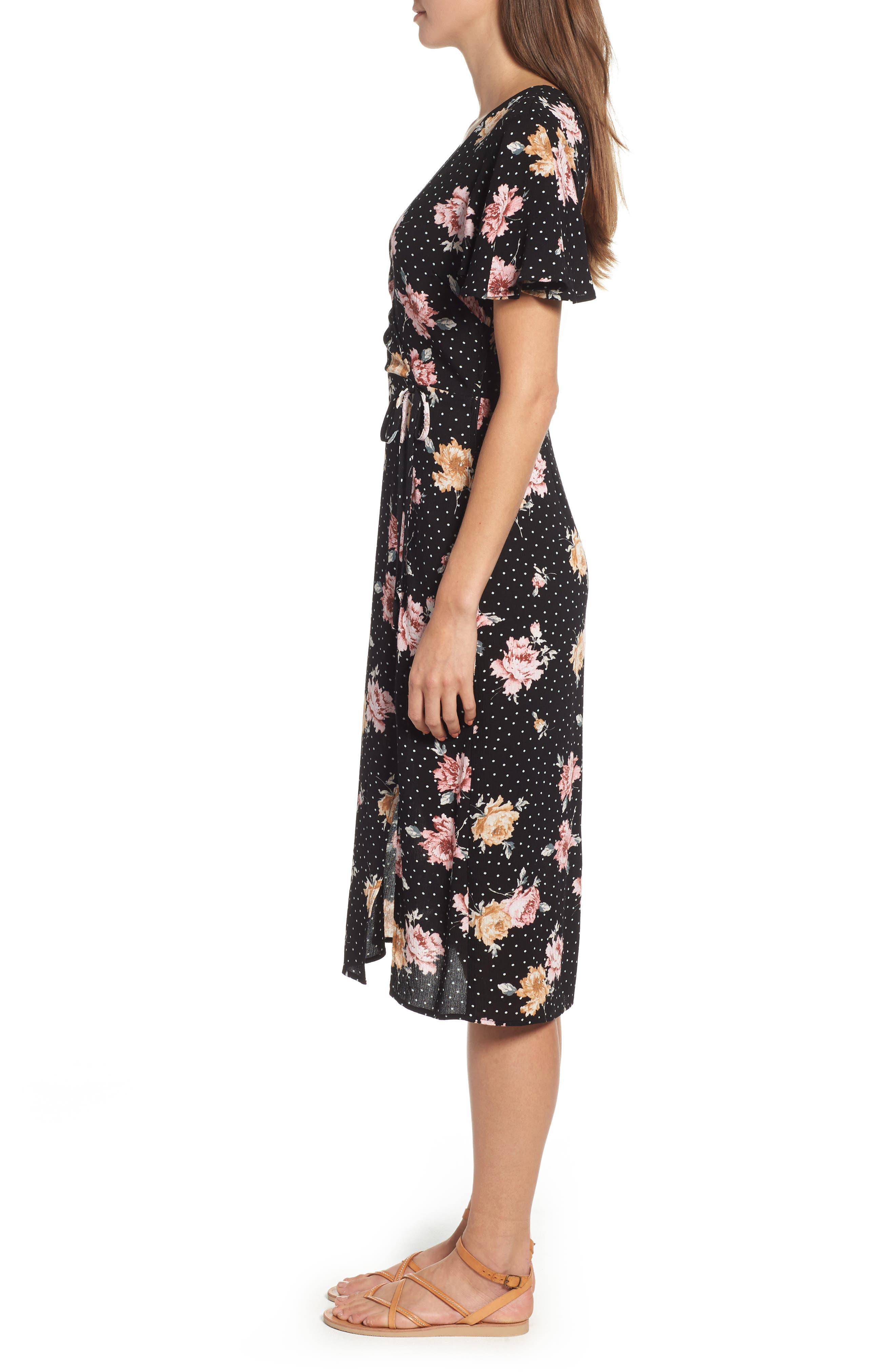 Print Tie Front Dress,                             Alternate thumbnail 3, color,                             BLACK FLORAL