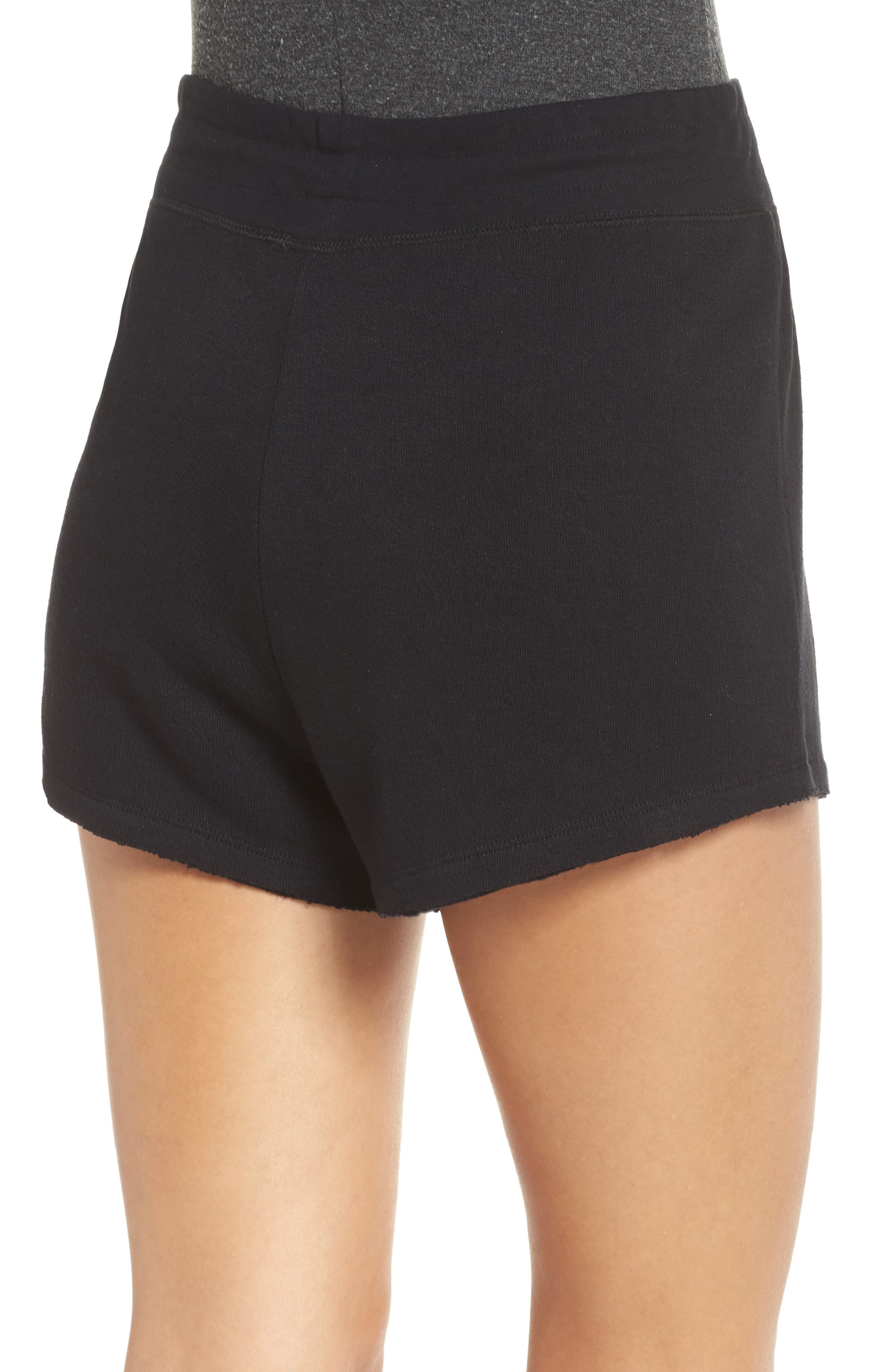 Dreamy High Rise Fleece Shorts,                             Alternate thumbnail 2, color,                             BLACK