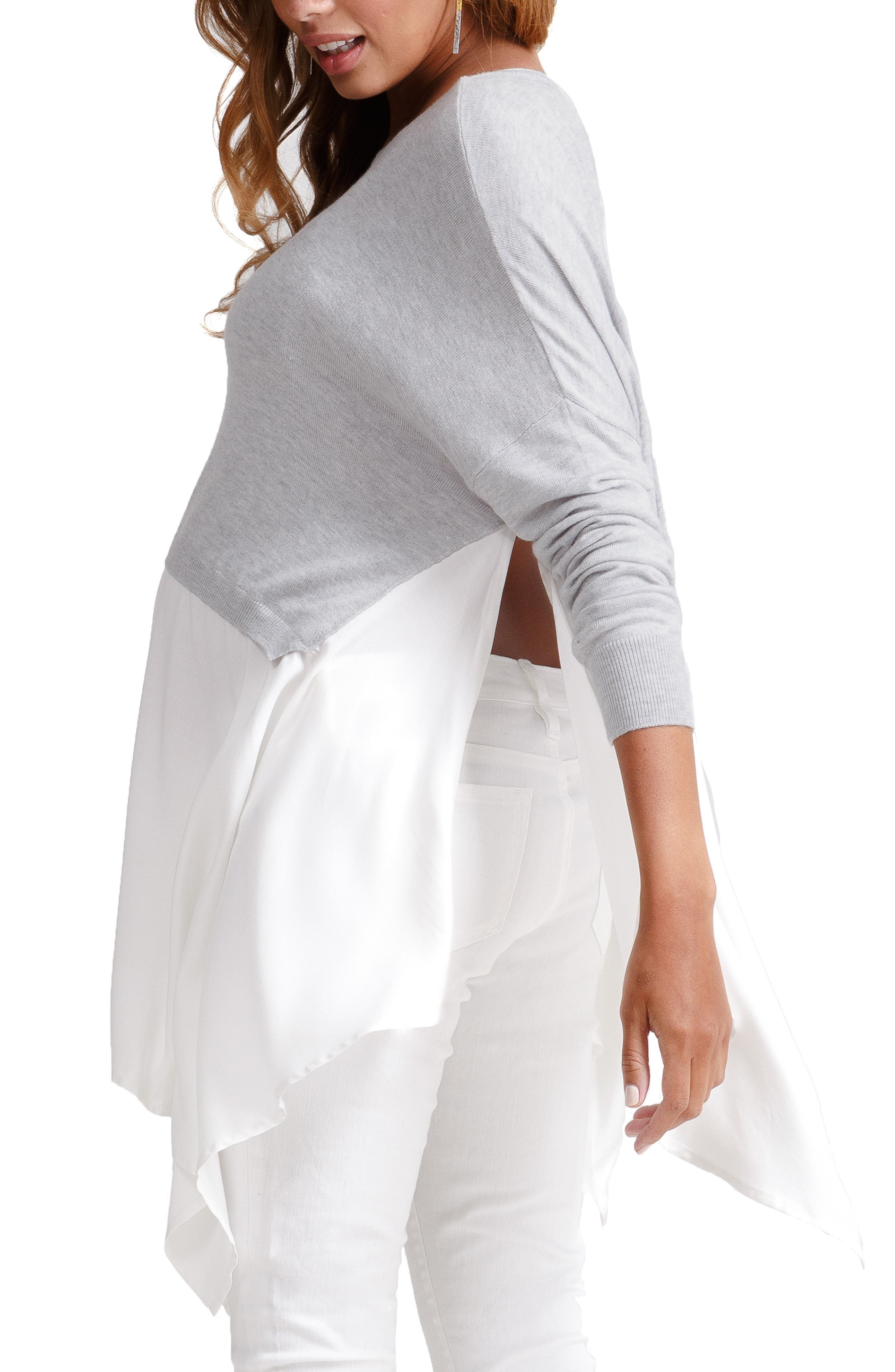 Drapey Swing Mixed Media Maternity/Nursing Sweater,                             Alternate thumbnail 3, color,                             LIGHT HEATHER GRAY WITH IVORY