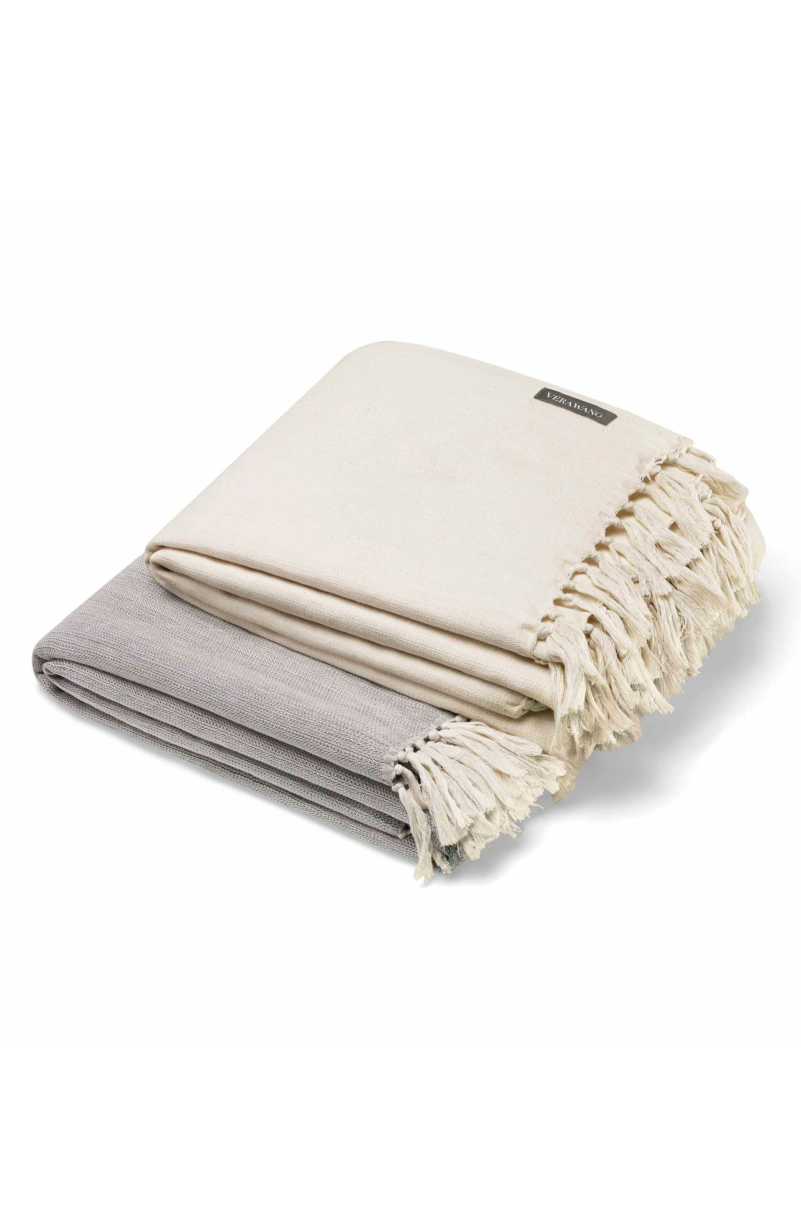 Fringe Cotton Twill Throw,                             Alternate thumbnail 2, color,                             CHARCOAL