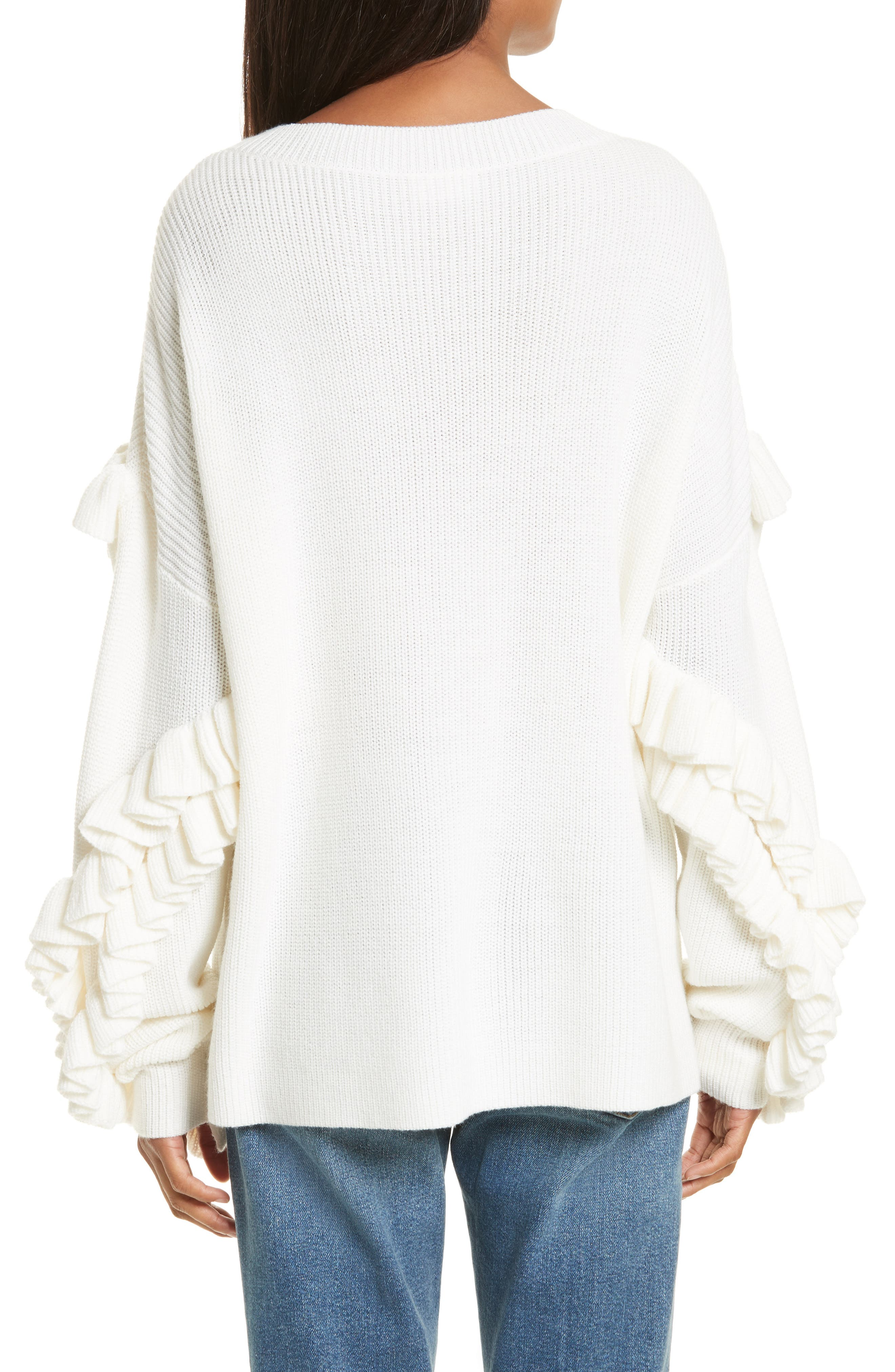 Ruffle Dolman Sweater,                             Alternate thumbnail 2, color,