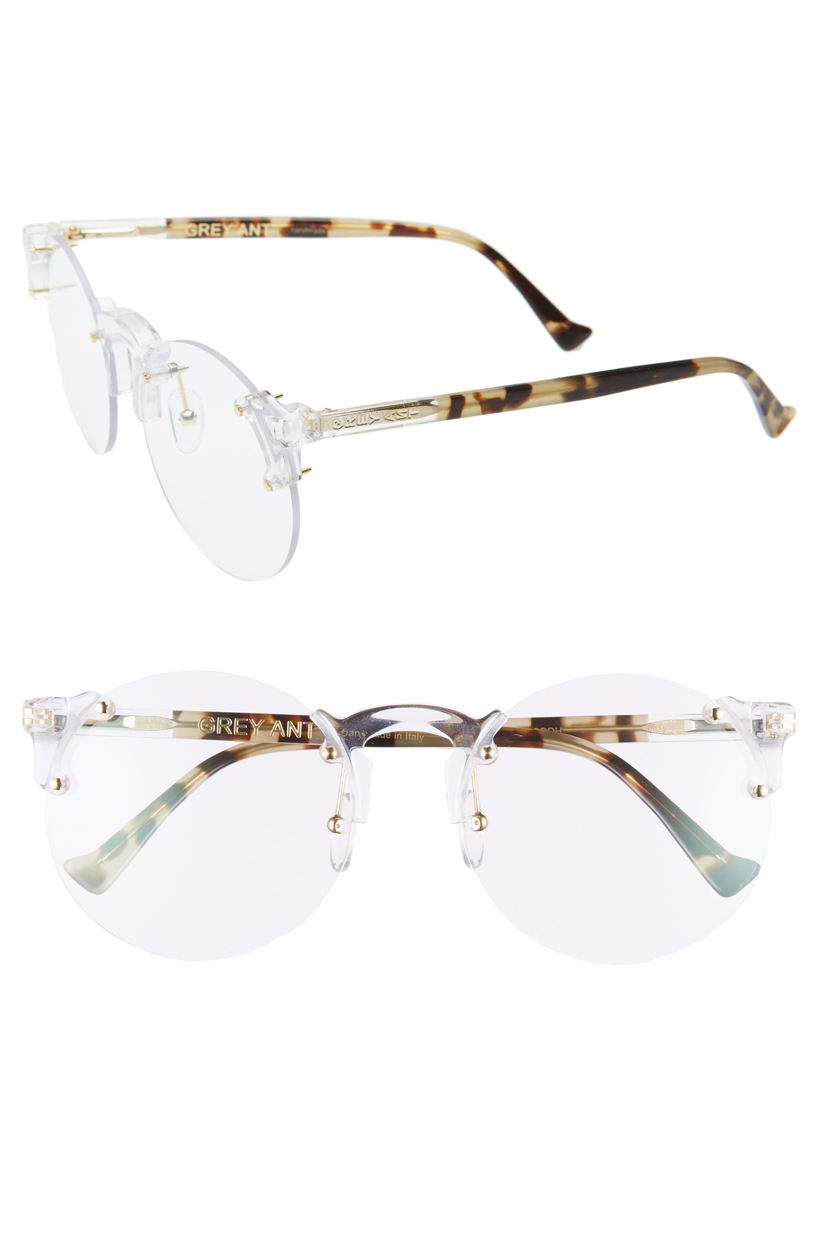 Solo 57mm Rimless Optical Glasses, Main, color, CLEAR/ GOLD