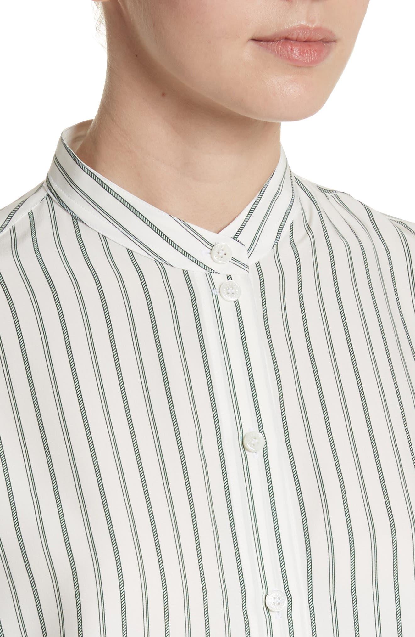 Stripe Silk Granddad Shirt,                             Alternate thumbnail 4, color,                             DARK GREEN/ OFF WHITE