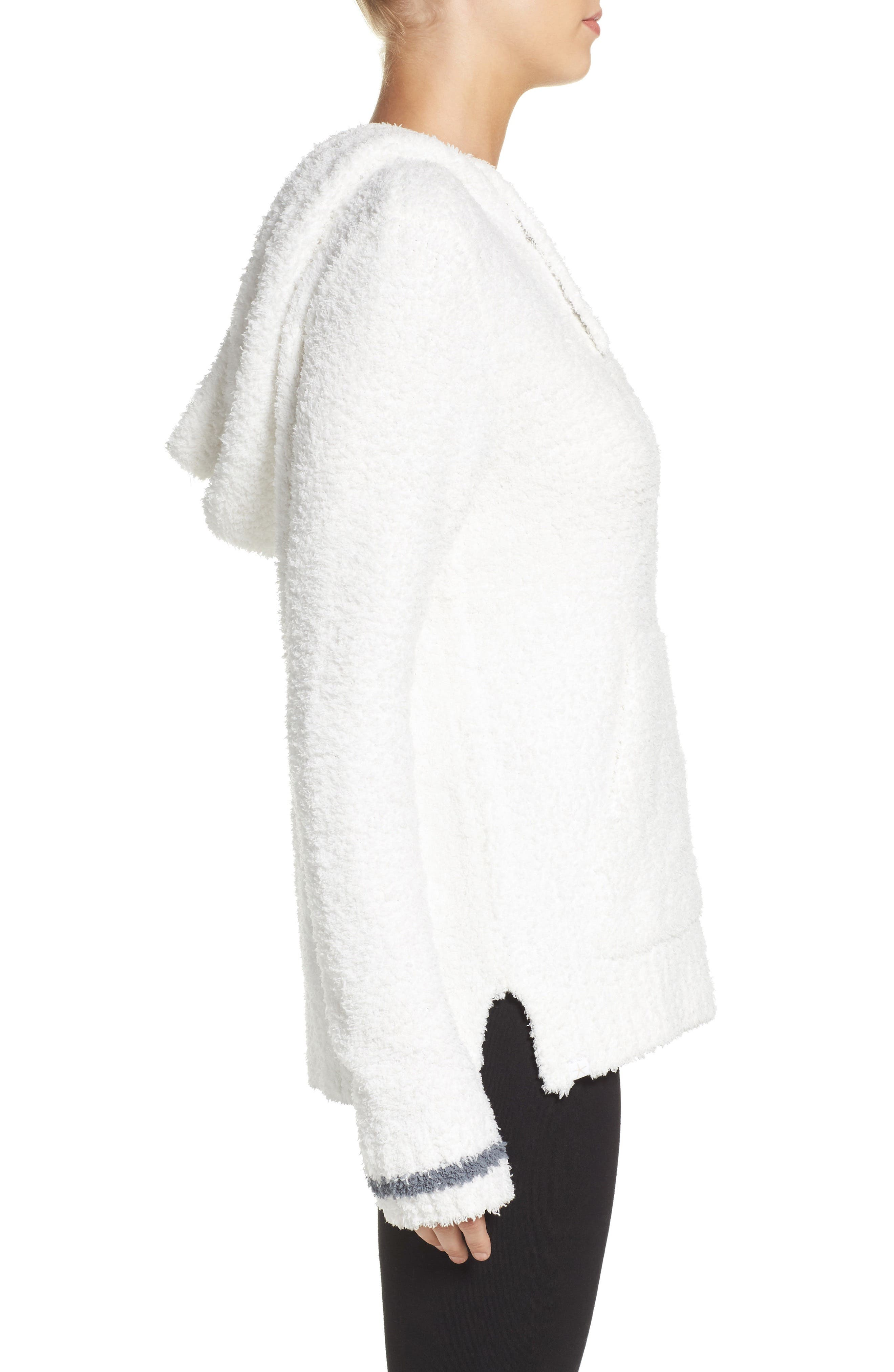 BAREFOOT DREAMS<SUP>®</SUP>,                             Barefoot Dreams Cozychic<sup>®</sup> Baha Lounge Hoodie,                             Alternate thumbnail 3, color,                             WHITE/ GRAPHITE STRIPE
