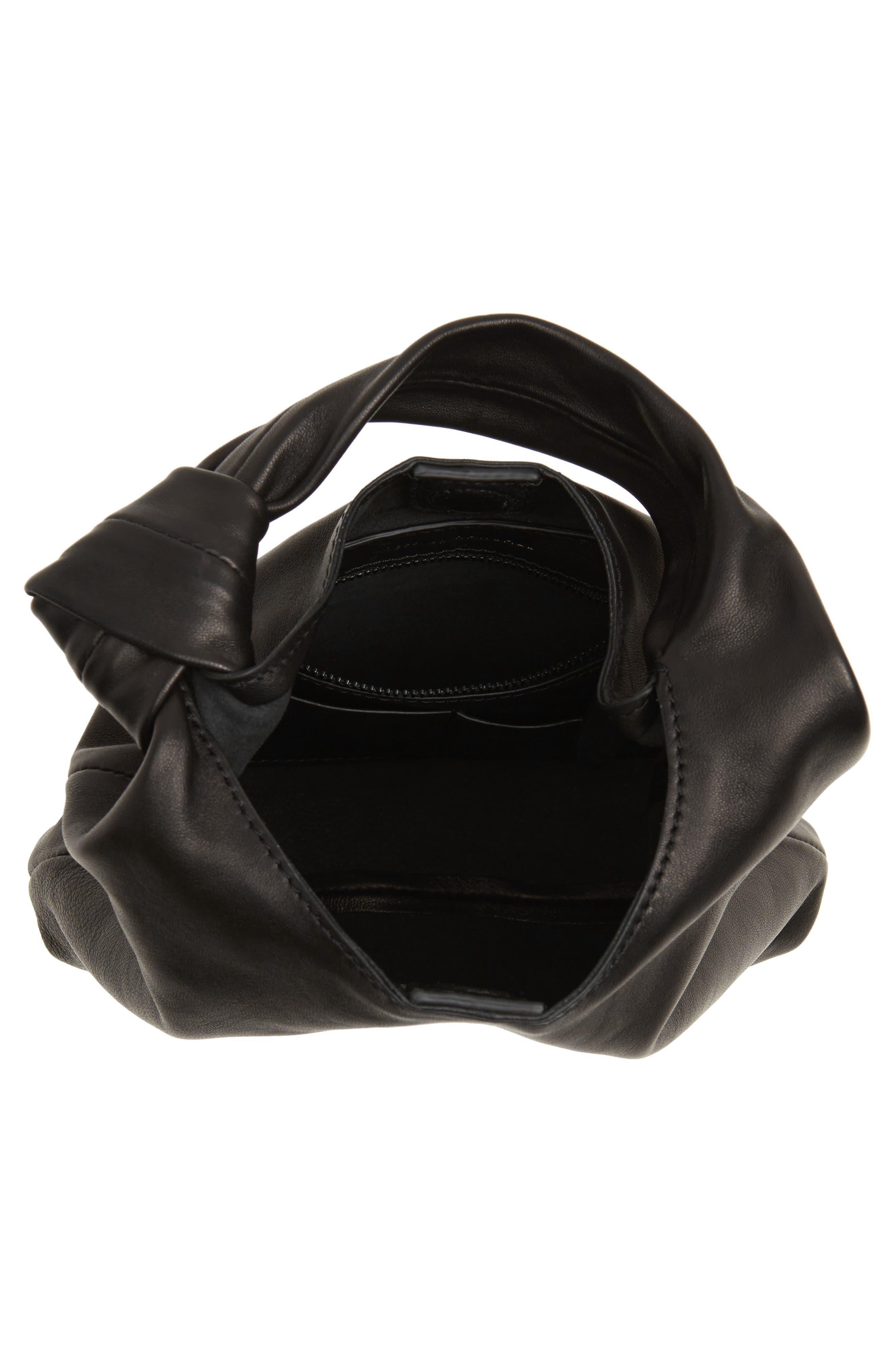 Mini Knot Leather Tote,                             Alternate thumbnail 4, color,                             001