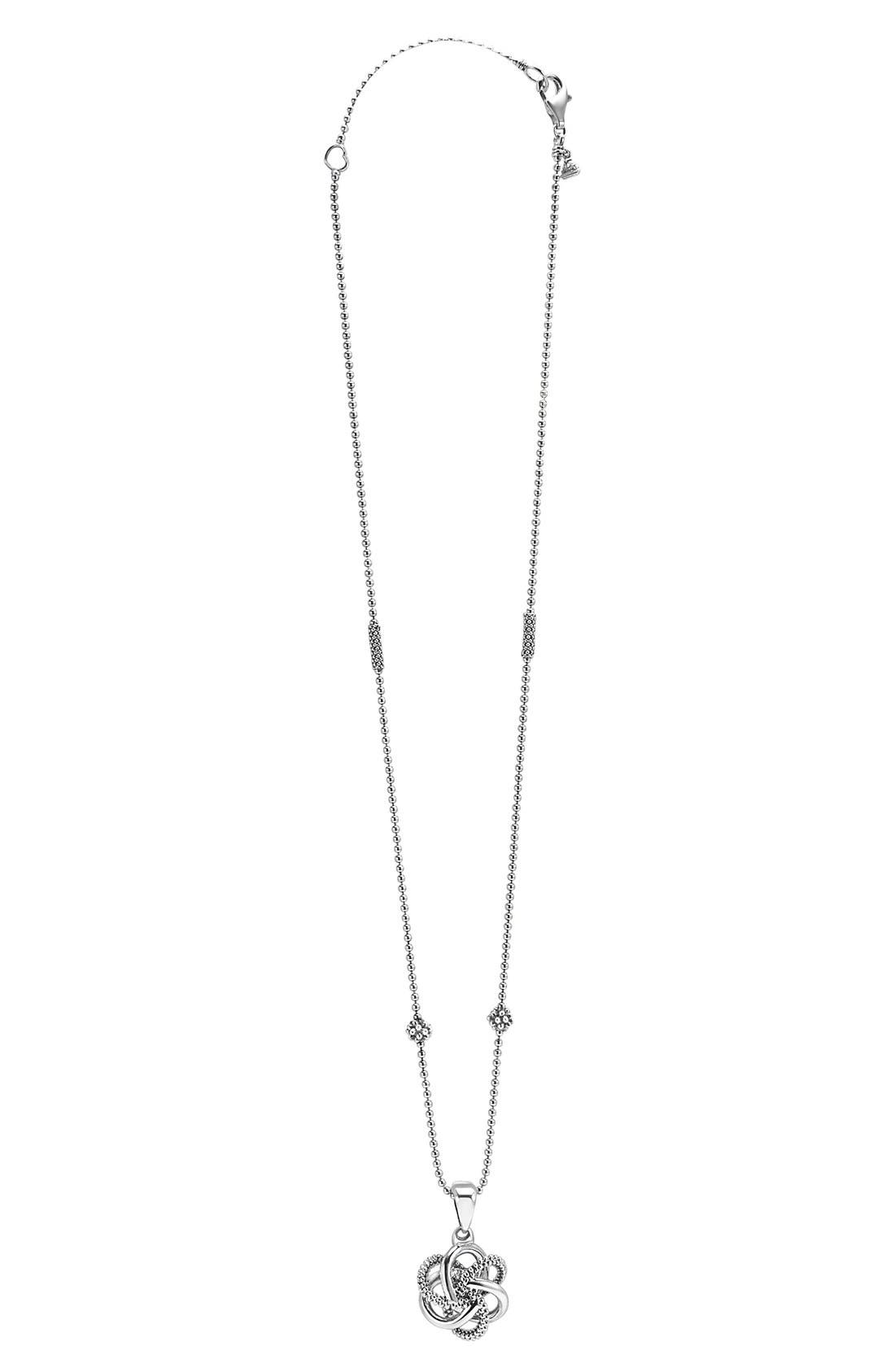 'Love Knot' Pendant Necklace,                             Alternate thumbnail 3, color,                             STERLING SILVER