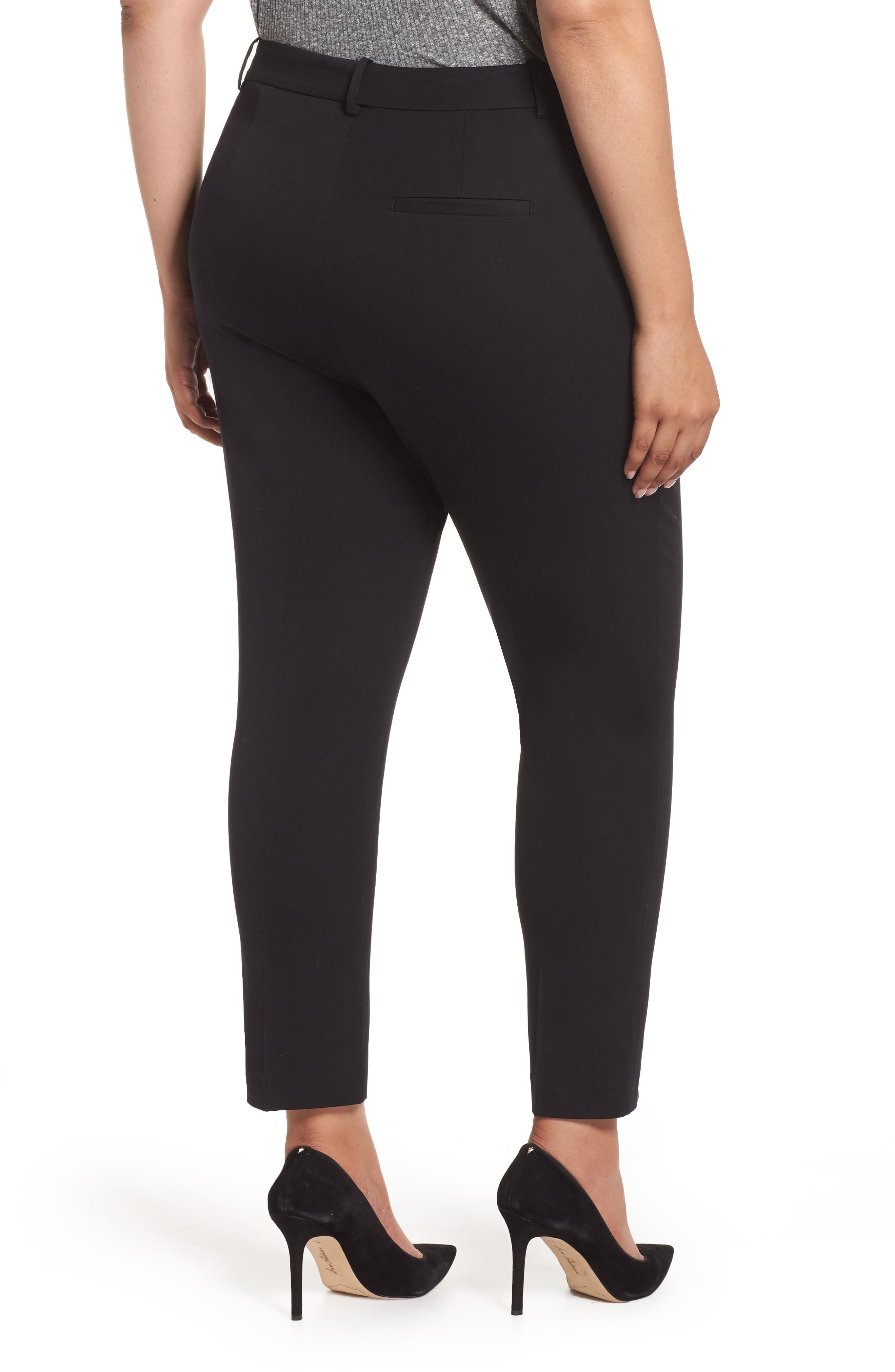 Stretch Cotton Blend Twill Ankle Pants,                             Alternate thumbnail 2, color,                             RICH BLACK