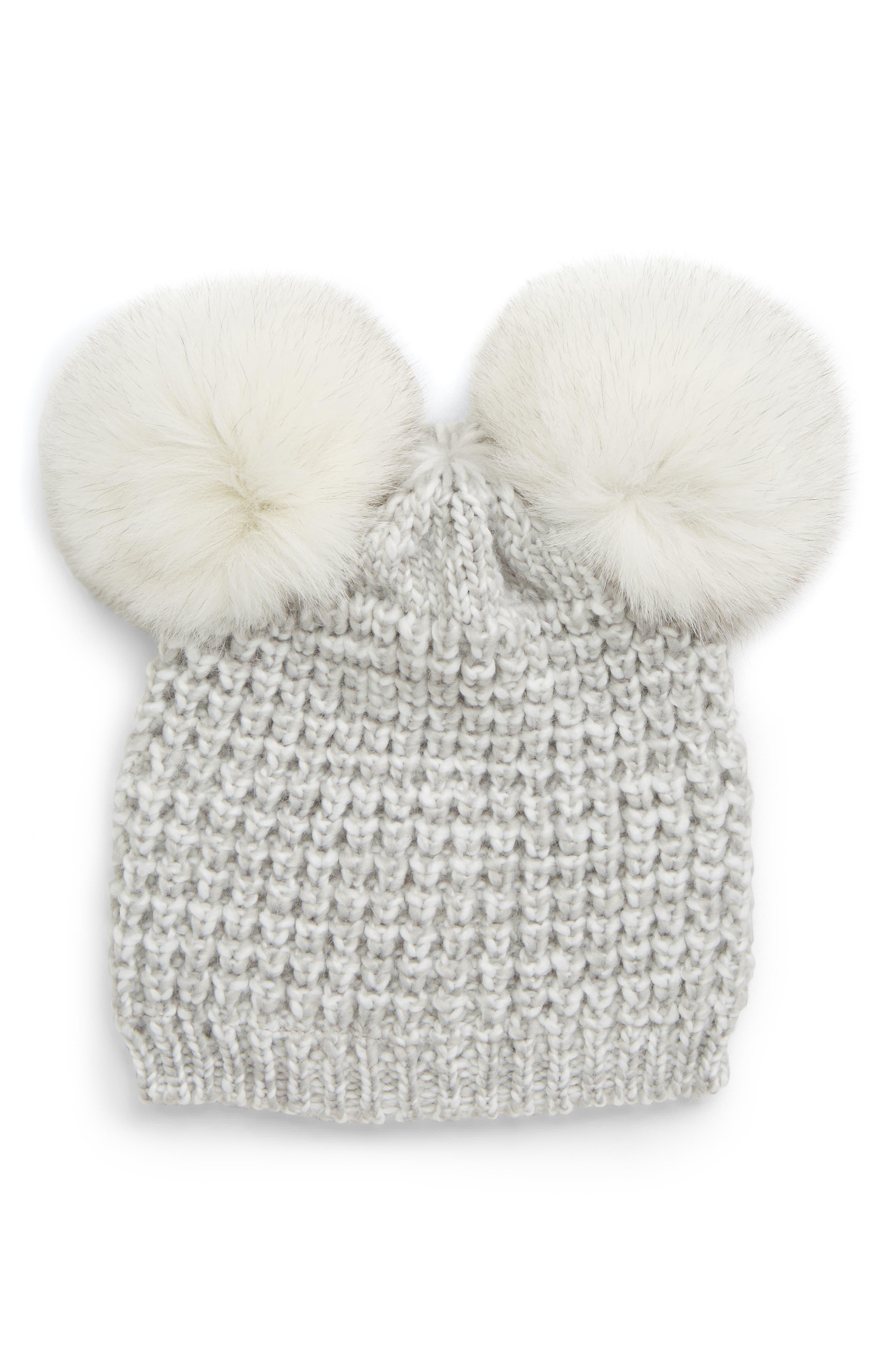 Genuine Fox Fur Pompoms Hat, Main, color, GREY MARLED