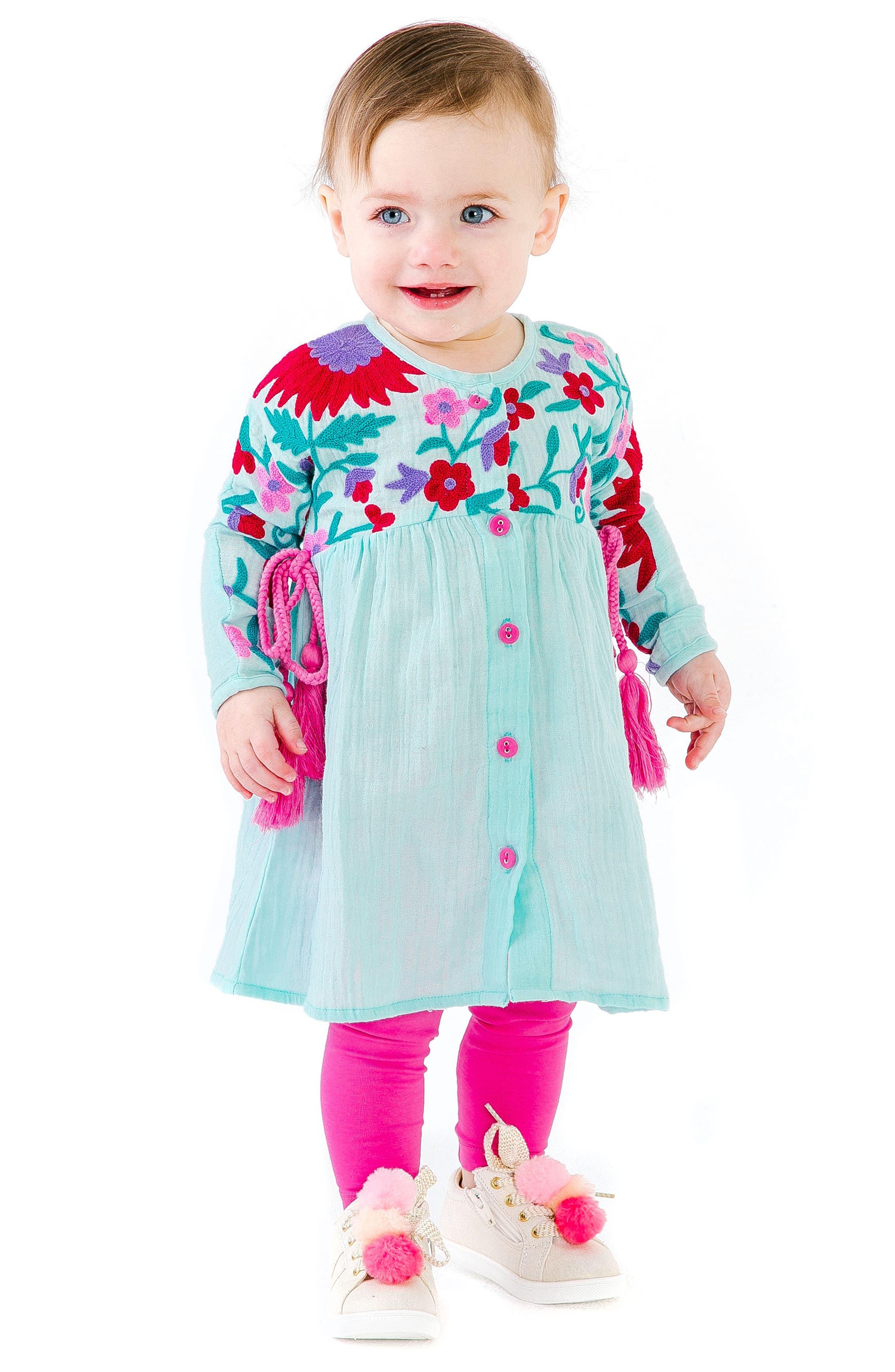 Organic Cotton Aasha Dress,                             Alternate thumbnail 2, color,                             AQUA