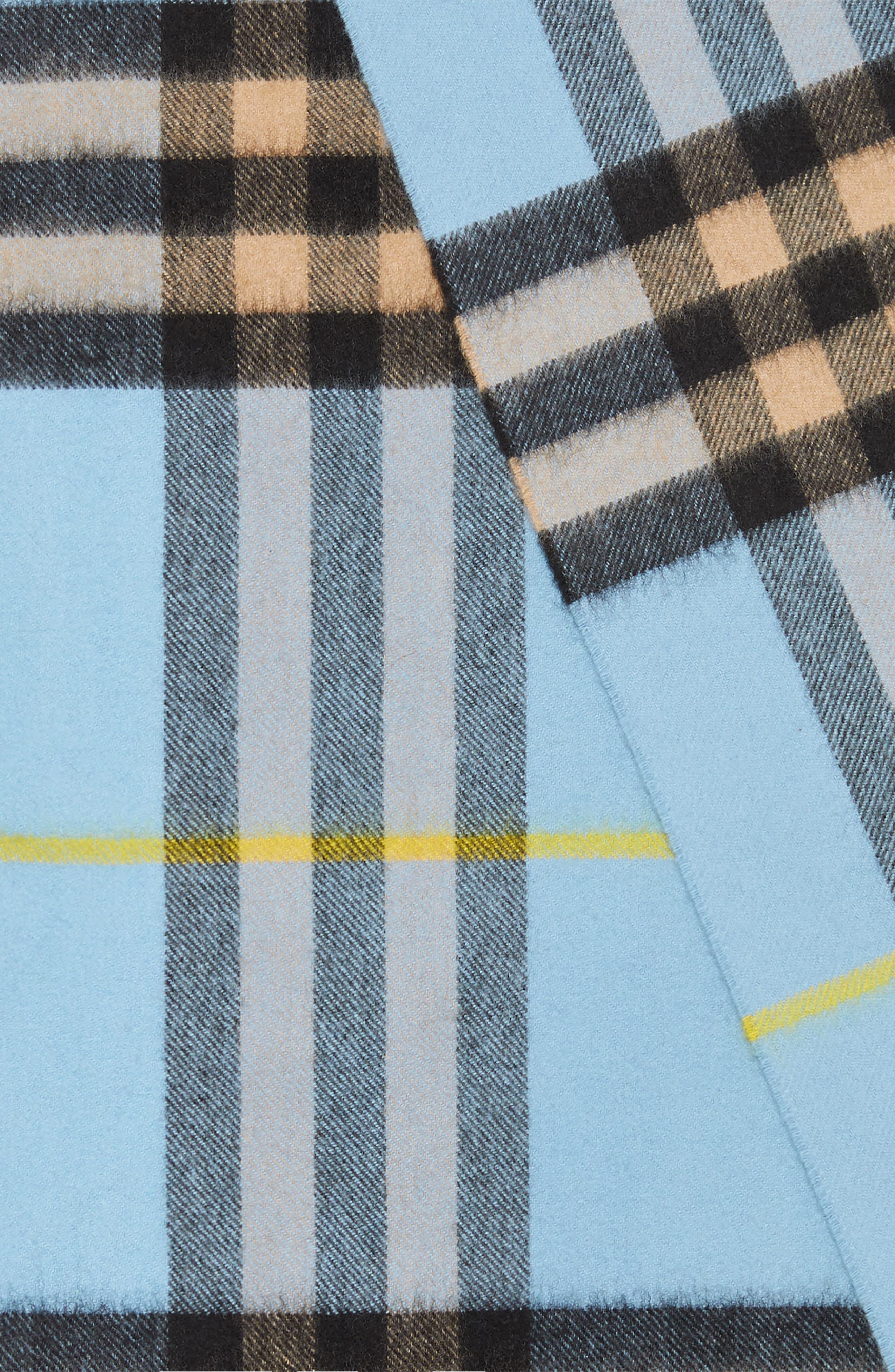 Giant Check Cashmere Scarf,                             Alternate thumbnail 2, color,                             BLUE CARBON