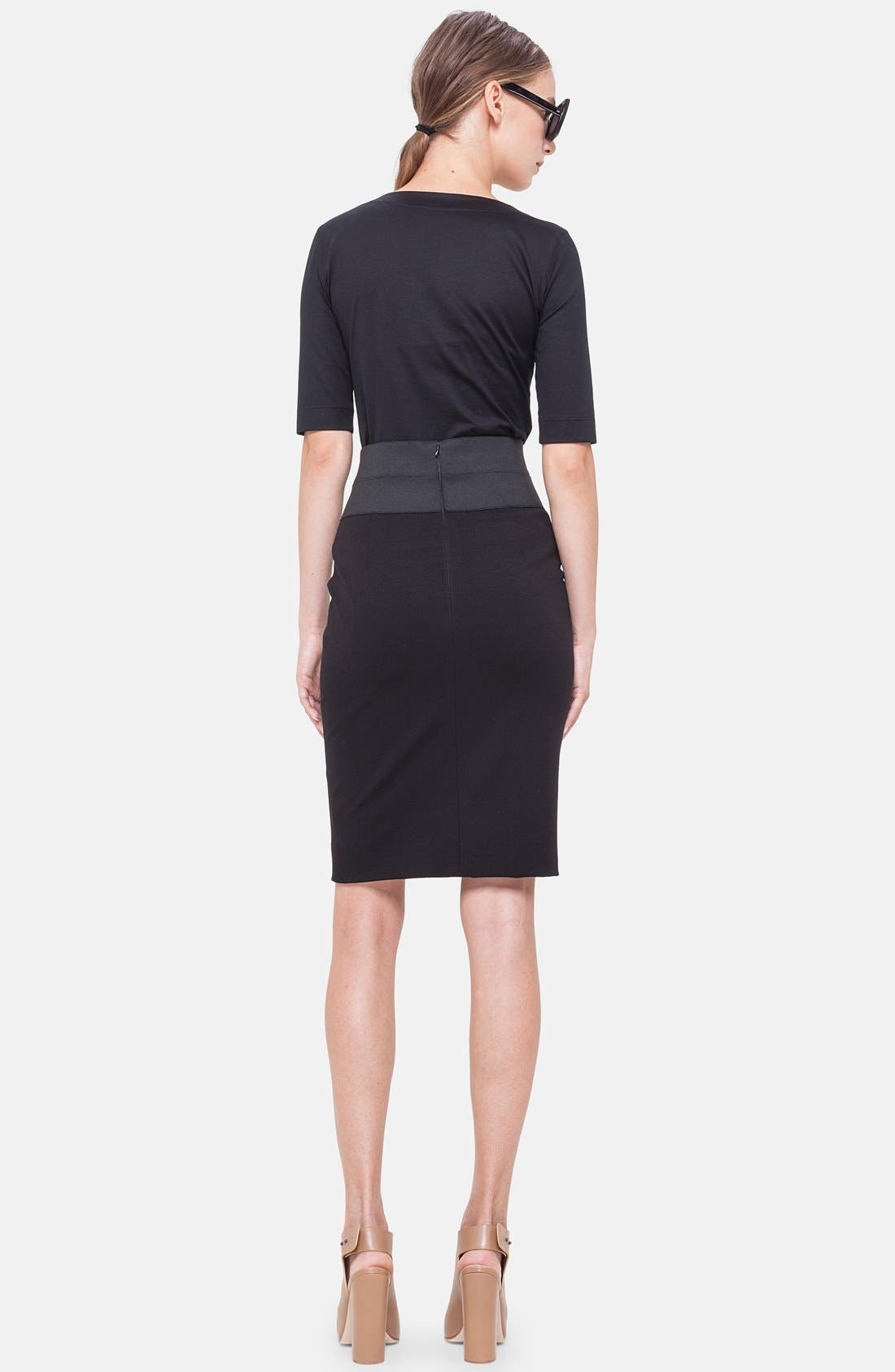 Pencil Skirt,                             Alternate thumbnail 4, color,                             BLACK