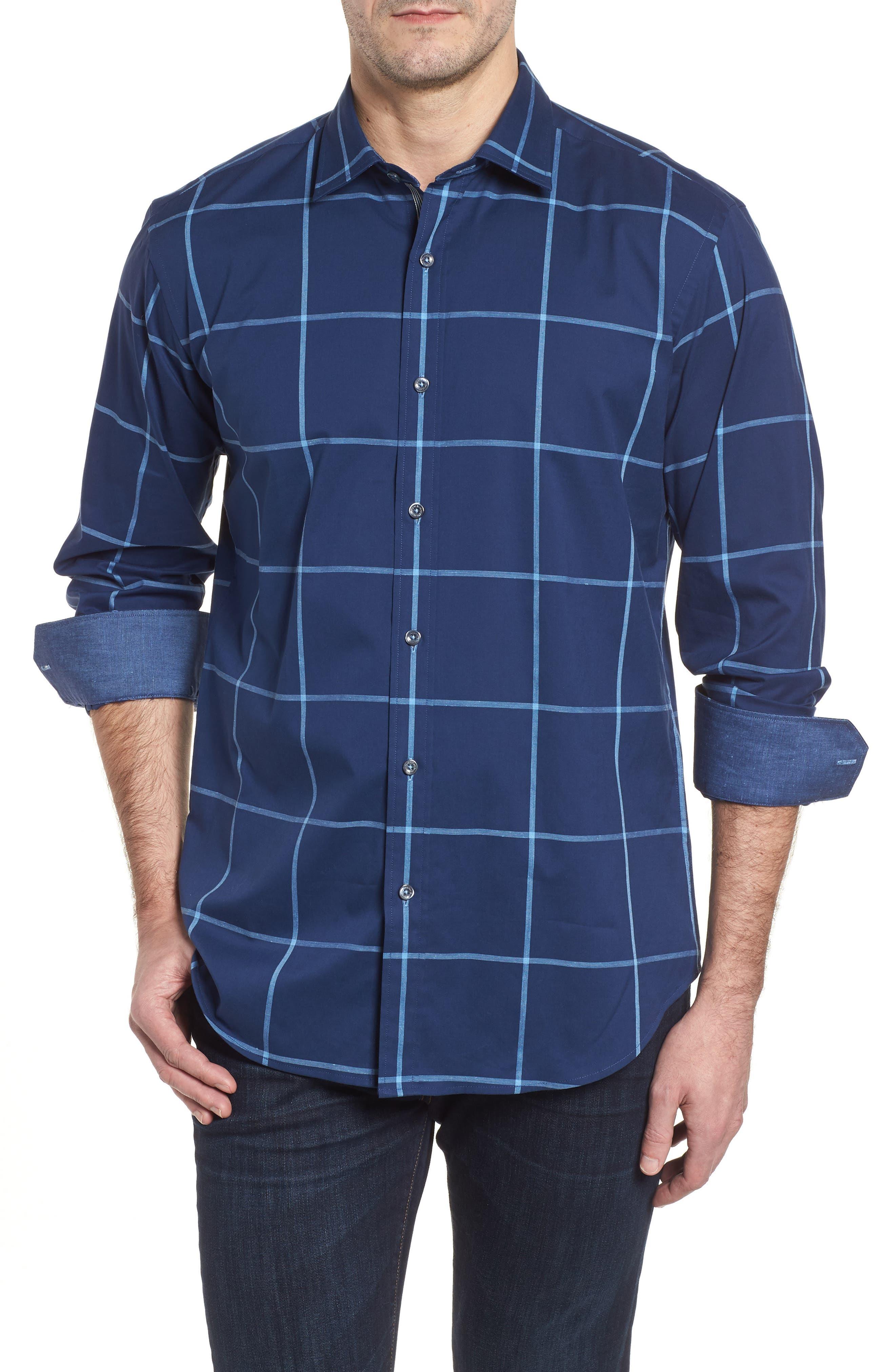 Shaped Fit Windowpane Plaid Sport Shirt,                         Main,                         color, 411